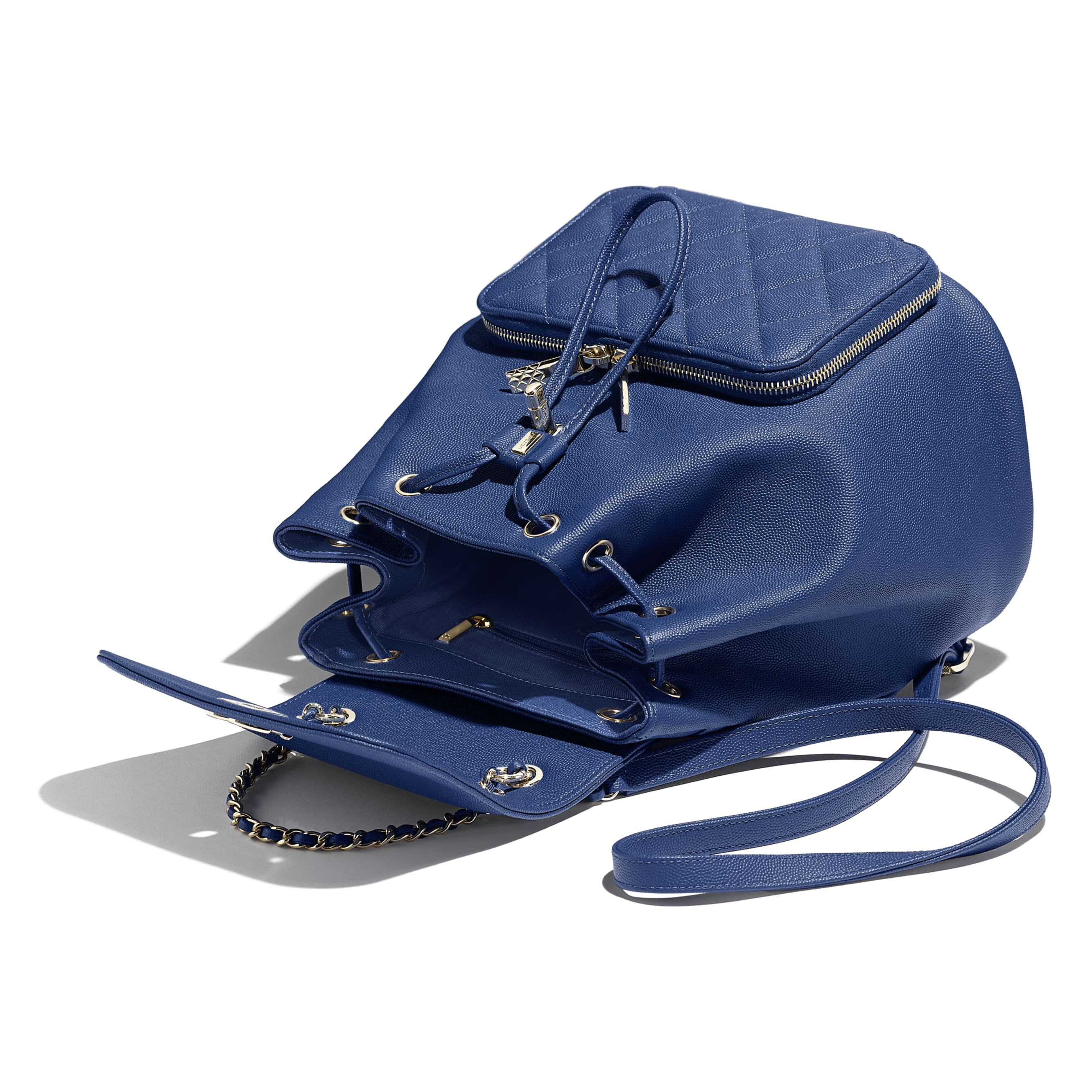 Backpack - Dark Blue - Grained Calfskin & Gold-Tone Metal - Other view - see standard sized version