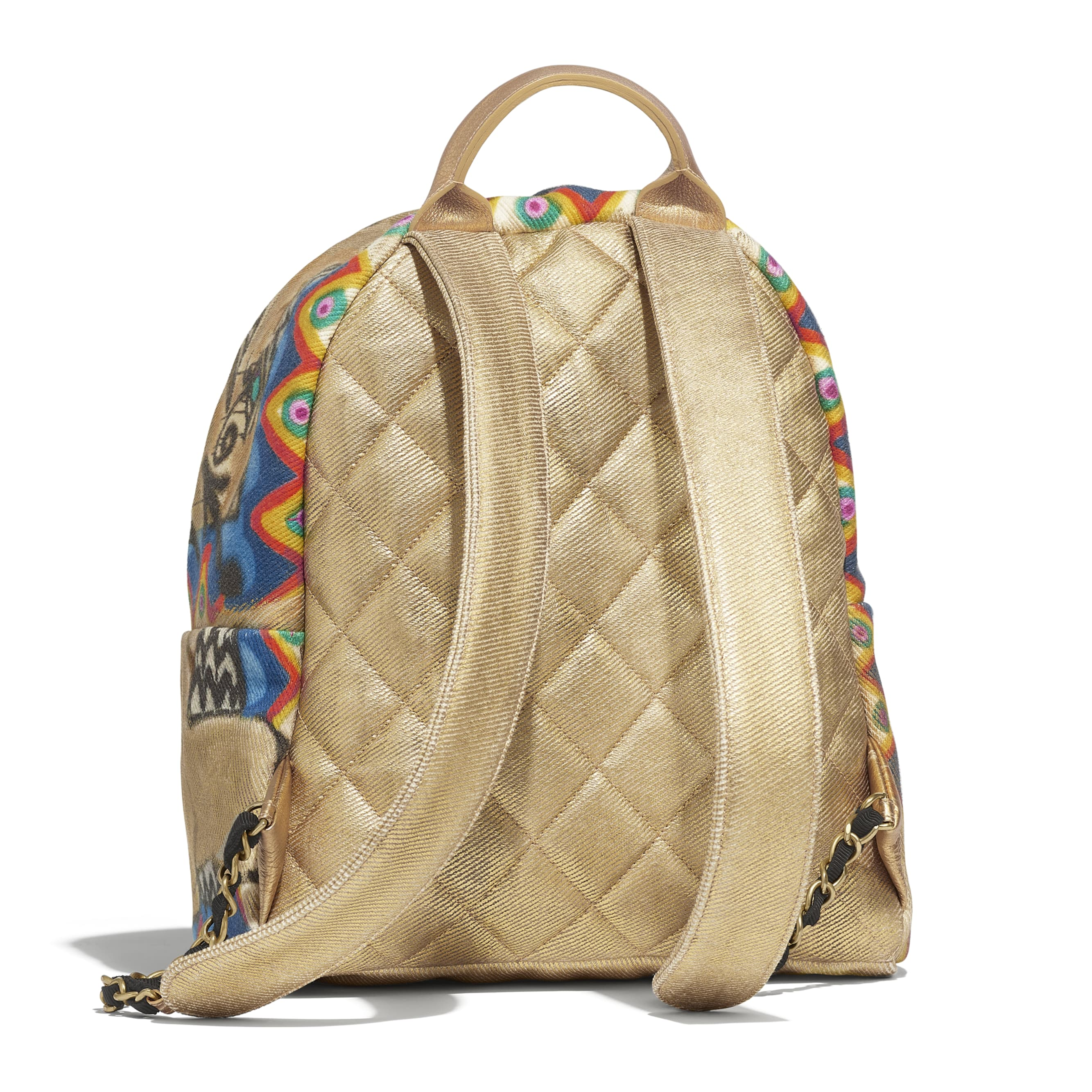 Backpack - Multicolor - Calfskin, Cotton & Gold-Tone Metal - Alternative view - see standard sized version