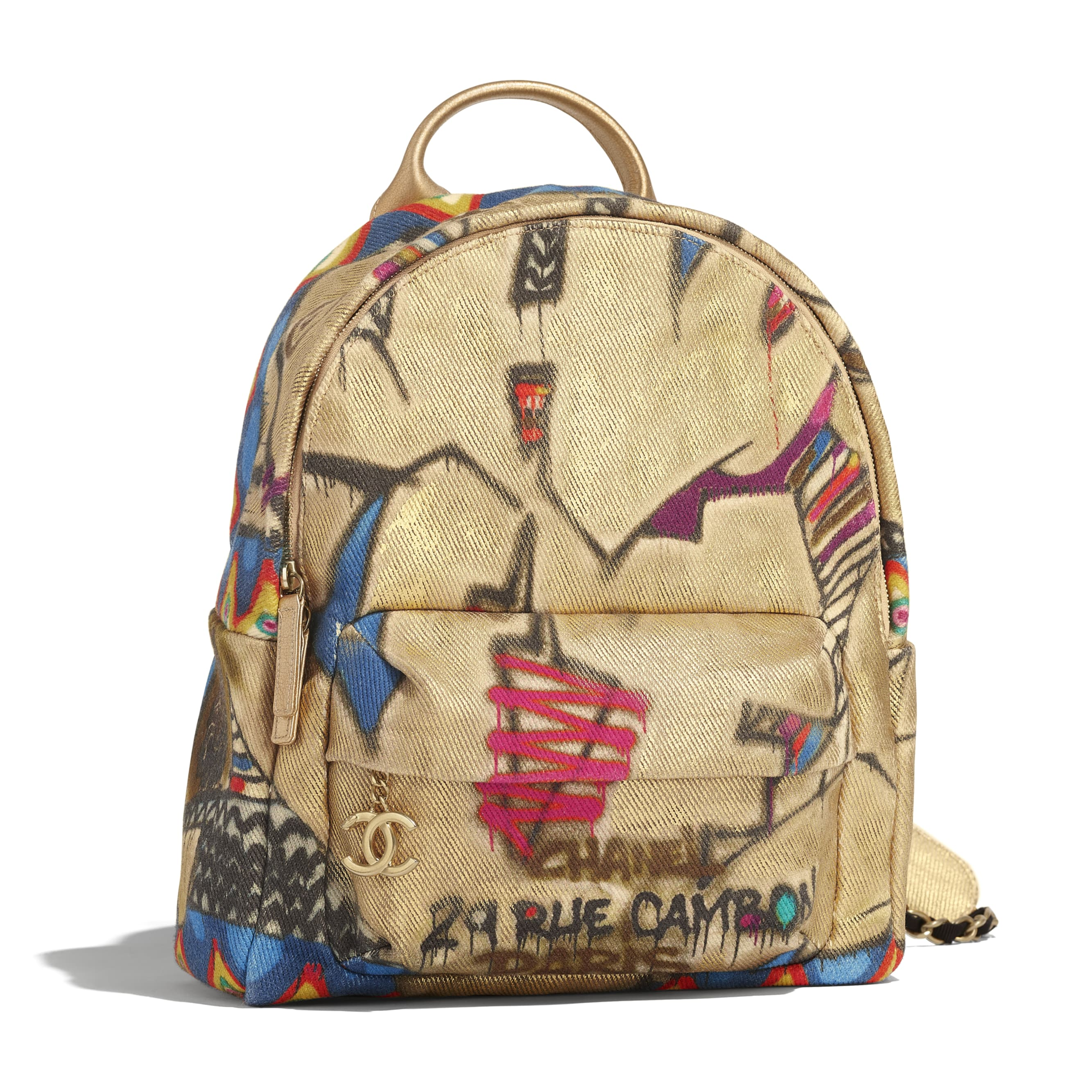 Backpack - Multicolor - Calfskin, Cotton & Gold-Tone Metal - Default view - see standard sized version