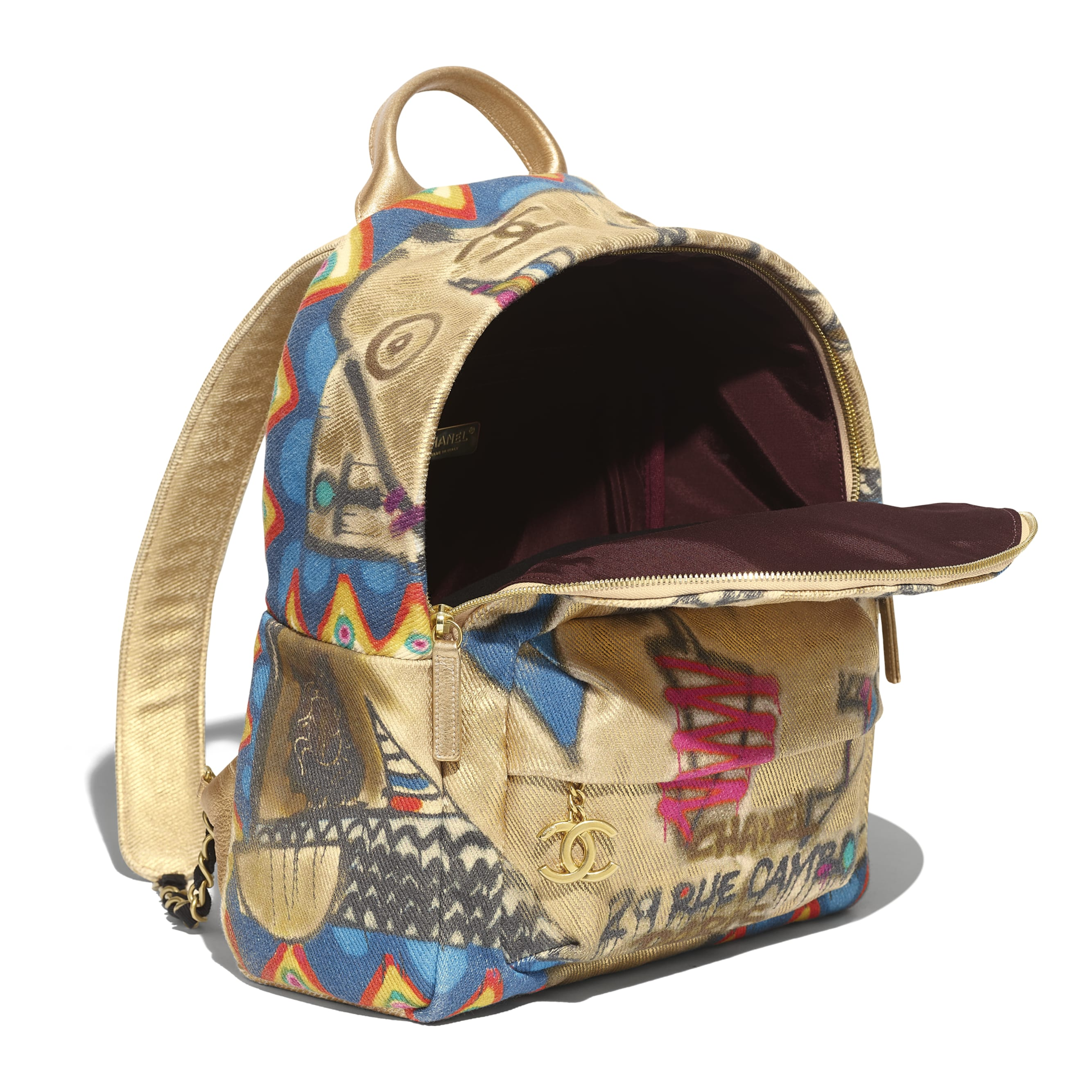 Backpack - Multicolor - Calfskin, Cotton & Gold-Tone Metal - Other view - see standard sized version