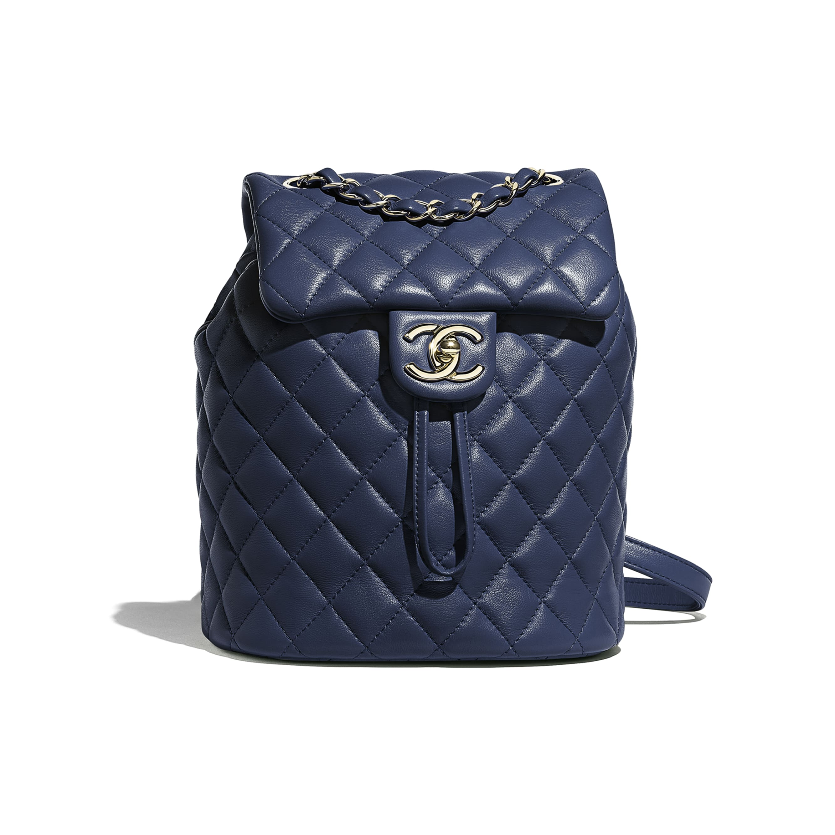 Backpack - Navy Blue - Lambskin & Gold-Tone Metal - Default view - see standard sized version