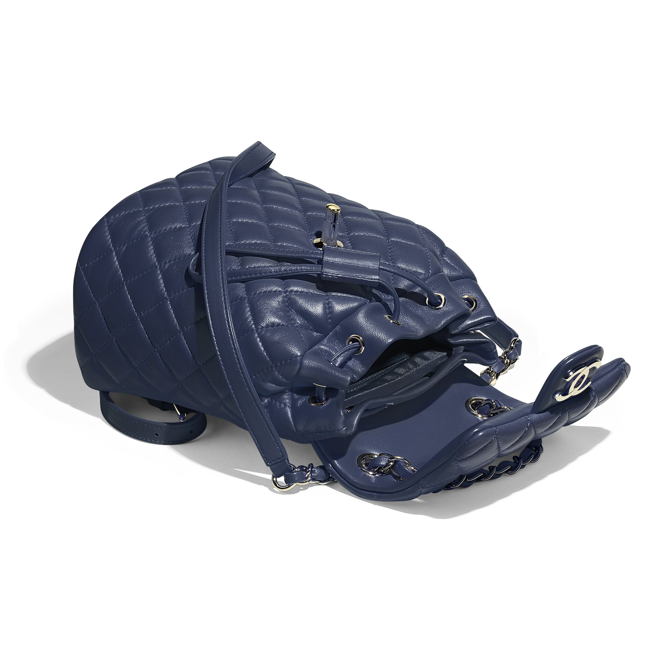 Backpack - Navy Blue - Lambskin & Gold-Tone Metal - Other view - see standard sized version