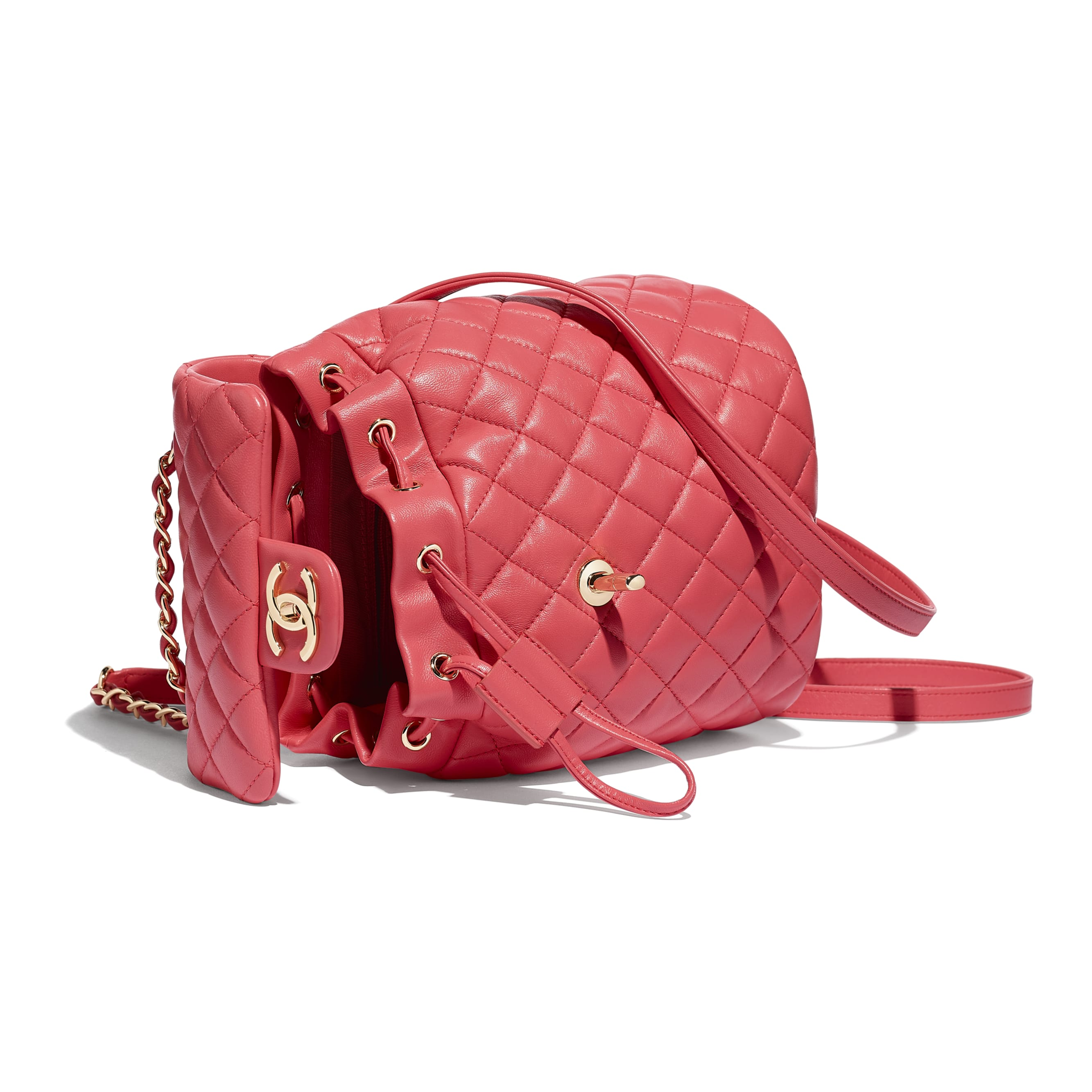 Backpack - Pink - Lambskin & Gold-Tone Metal - Other view - see standard sized version