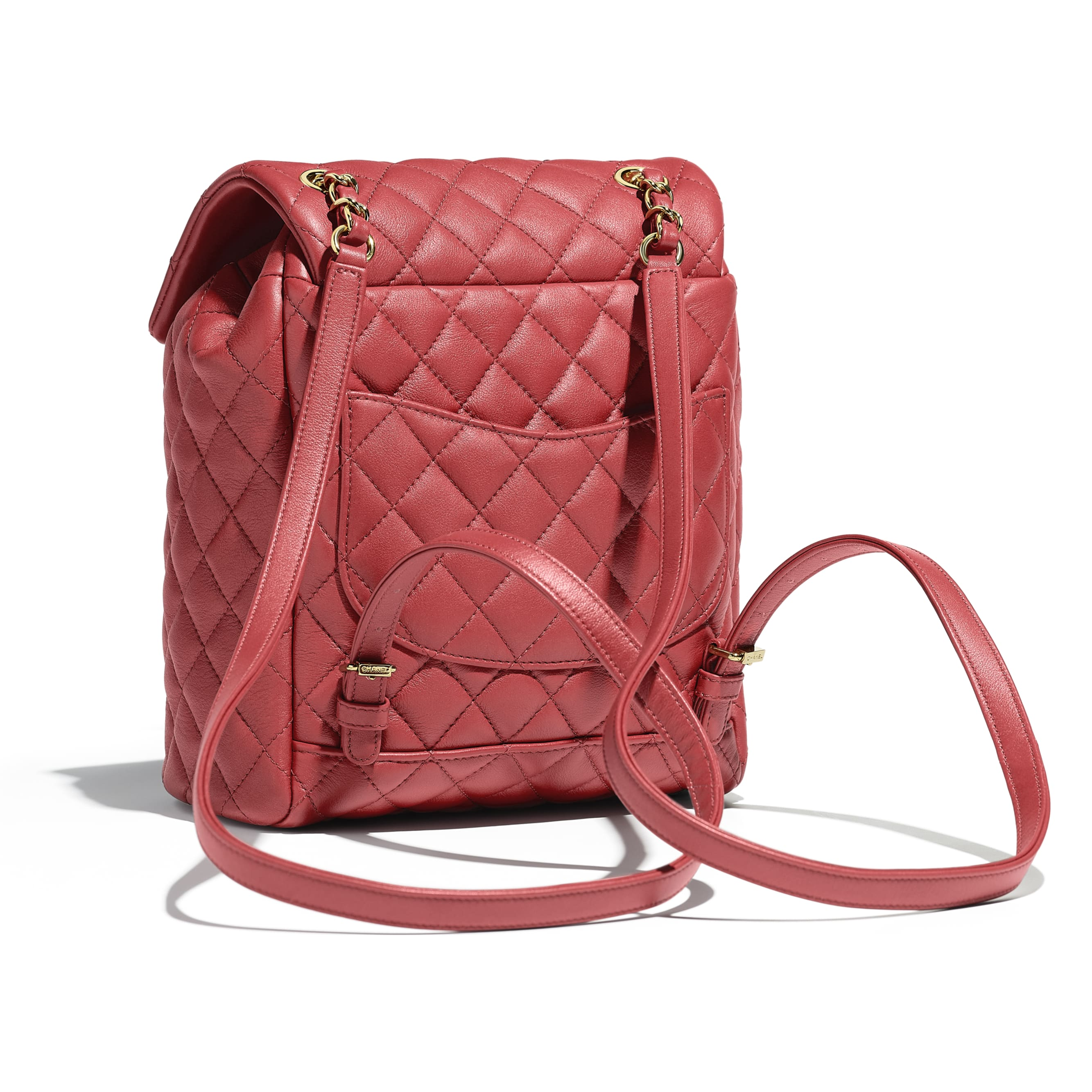 Backpack - Red - Calfskin & Gold-Tone Metal - Alternative view - see standard sized version