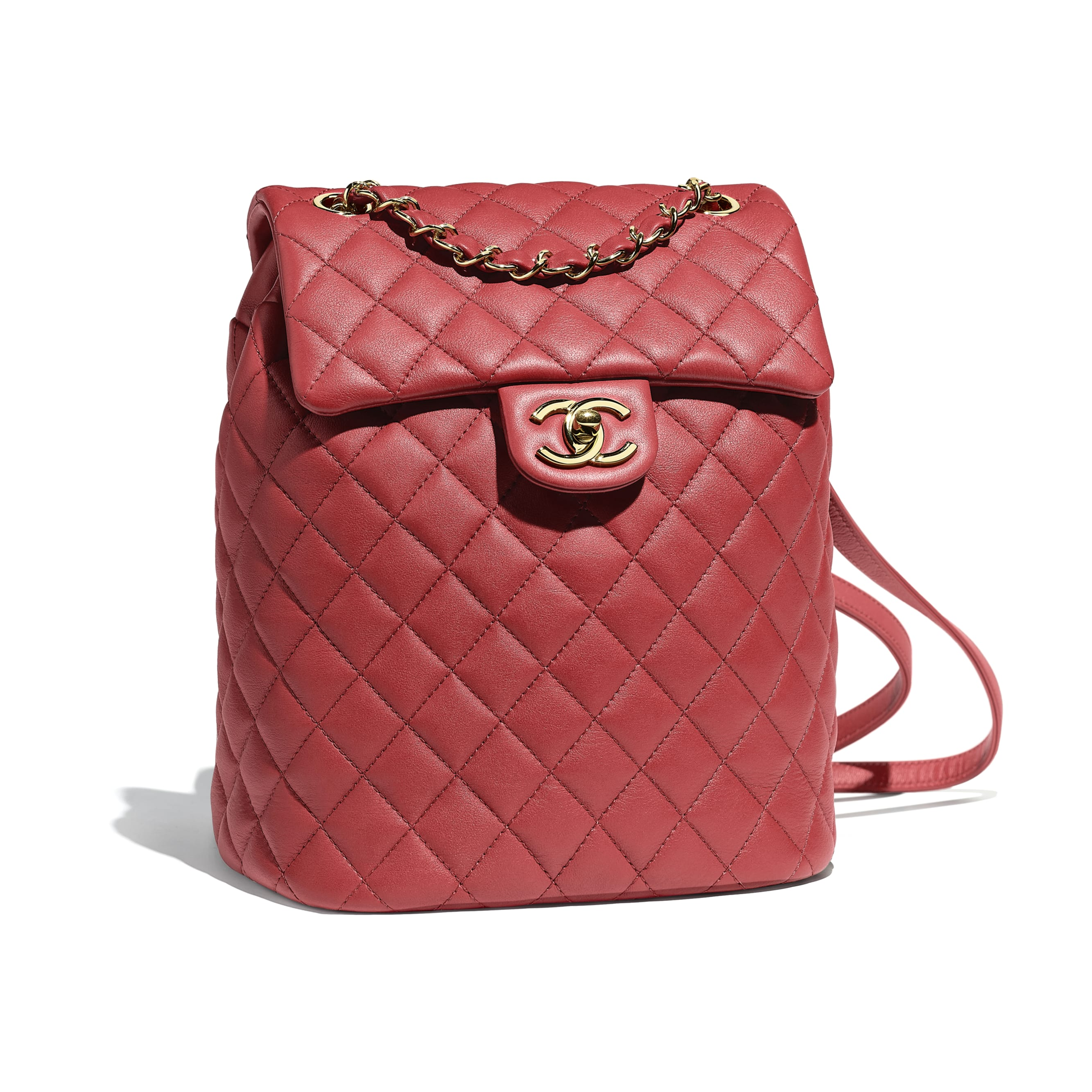 Backpack - Red - Calfskin & Gold-Tone Metal - Default view - see standard sized version