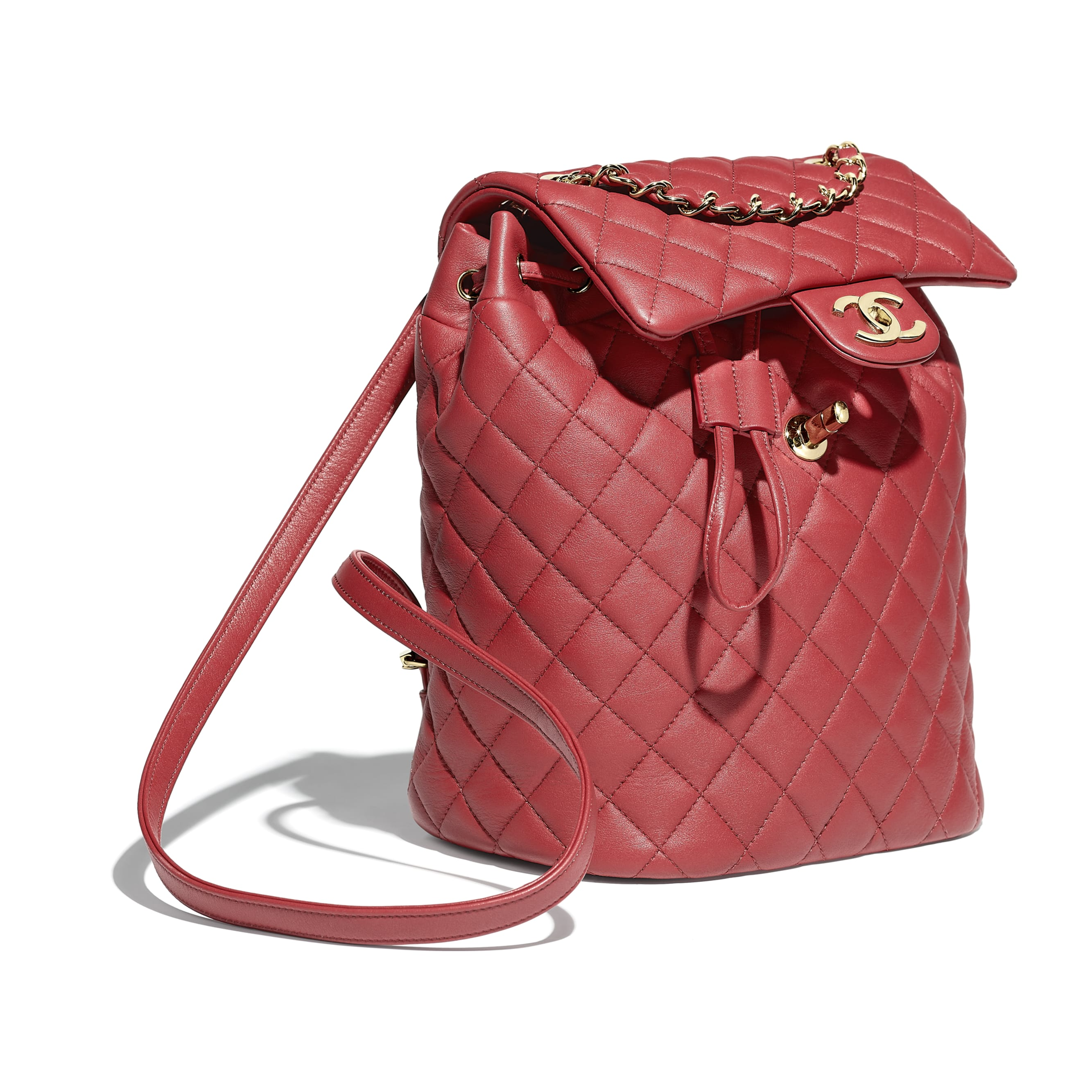 Backpack - Red - Calfskin & Gold-Tone Metal - Other view - see standard sized version