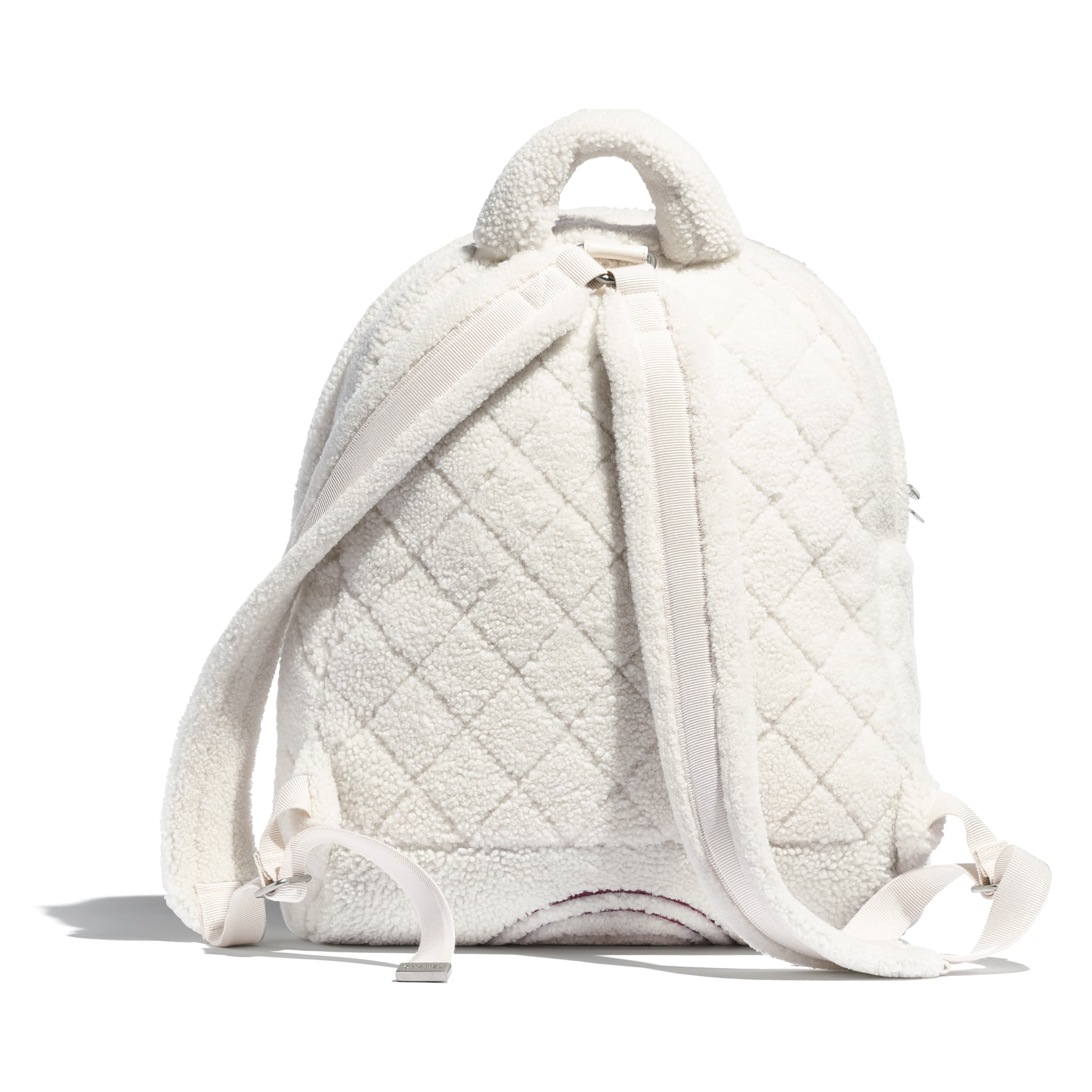 Рюкзак - Белый, бордовый и бежевый - Овчина и серебристый металл - Альтернативный вид - посмотреть изображение стандартного размера