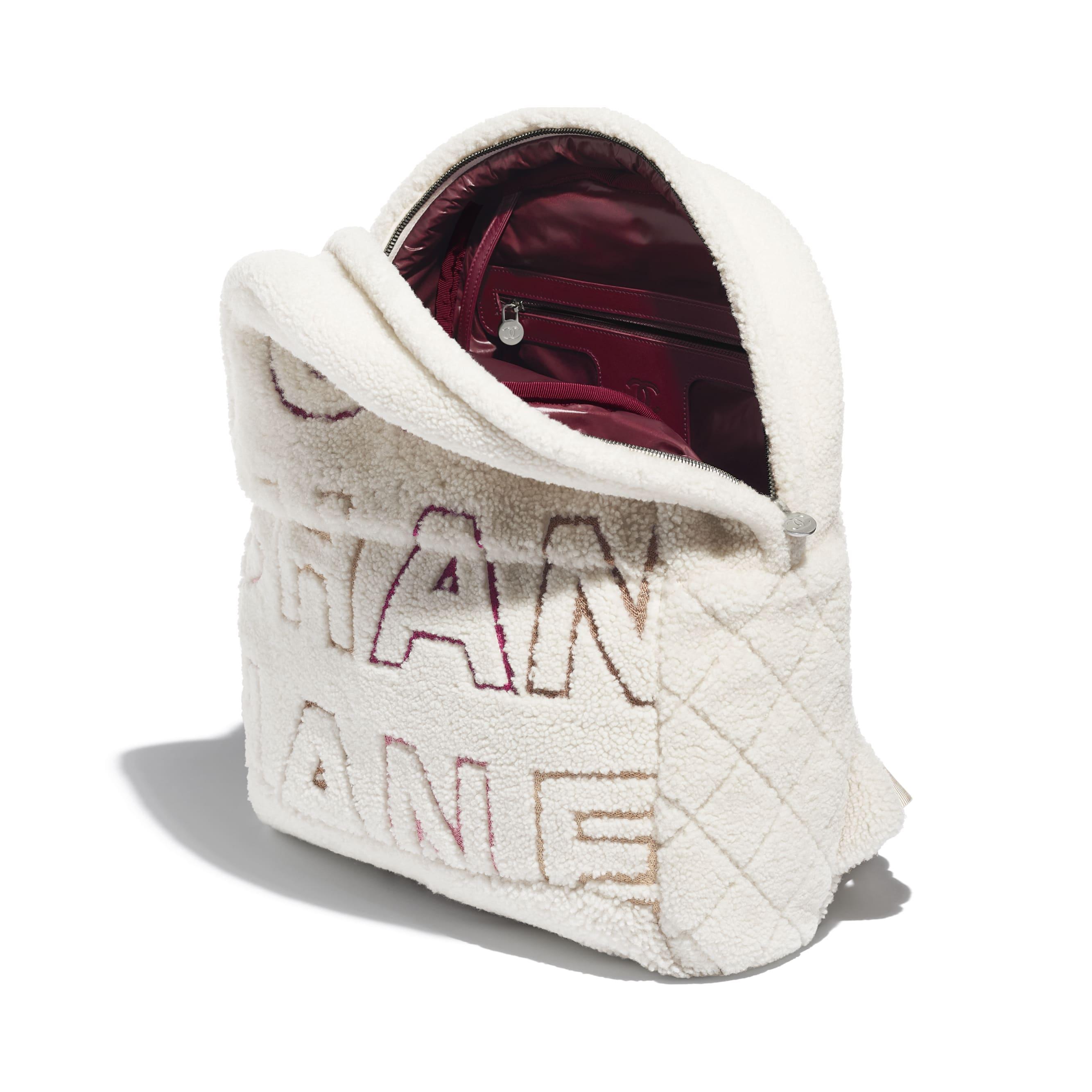 Рюкзак - Белый, бордовый и бежевый - Овчина и серебристый металл - Другое изображение - посмотреть изображение стандартного размера