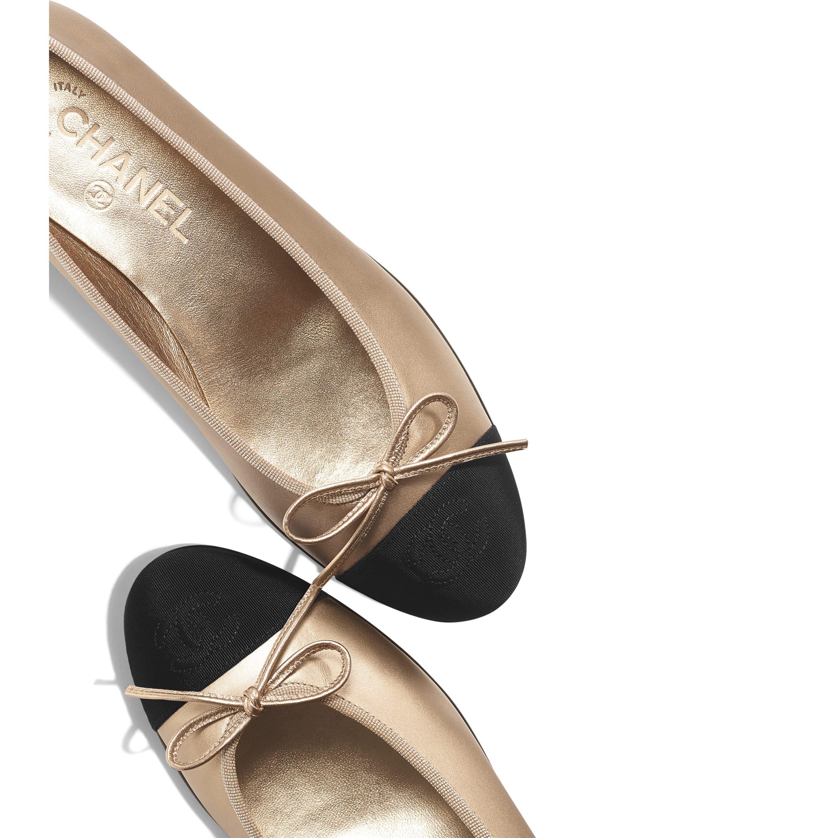 Ballerinas - Beige & Black - Laminated Goatskin & Grosgrain - Other view - see standard sized version