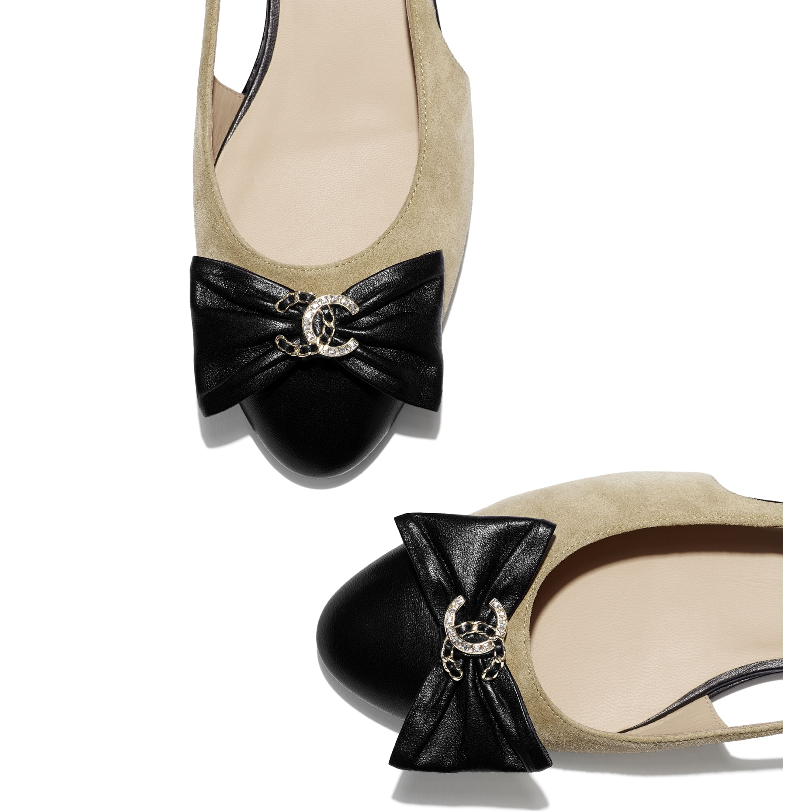 芭蕾舞鞋 - 米與黑 - 小牛麂皮與小羊皮 - CHANEL - 額外視圖 - 查看標準尺寸版本