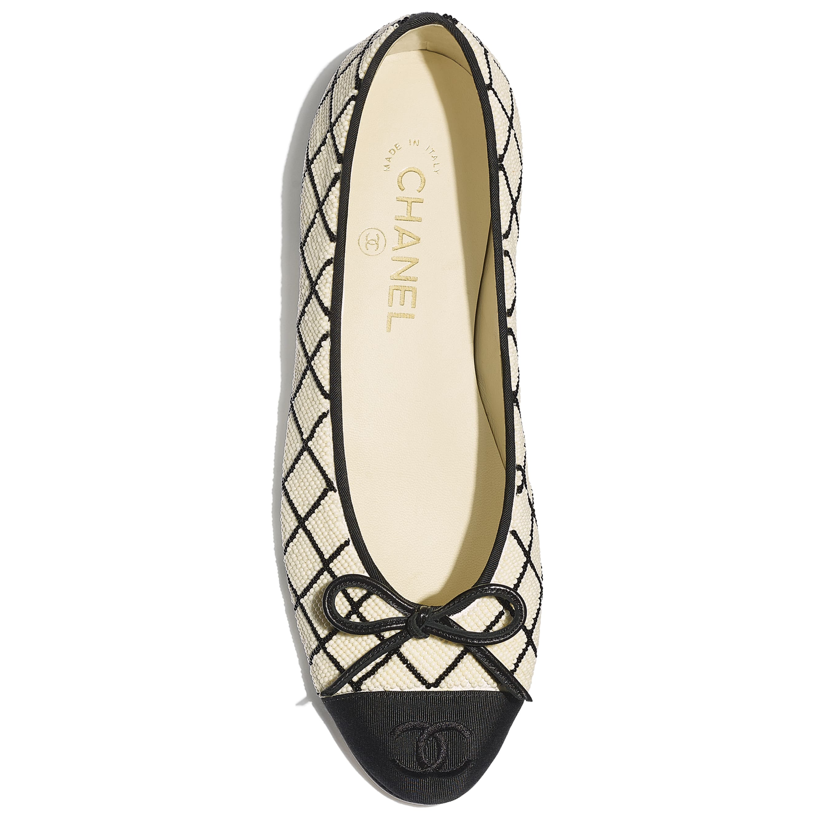 Flats - Black & Ivory - Pearls & Grosgrain - Extra view - see standard sized version