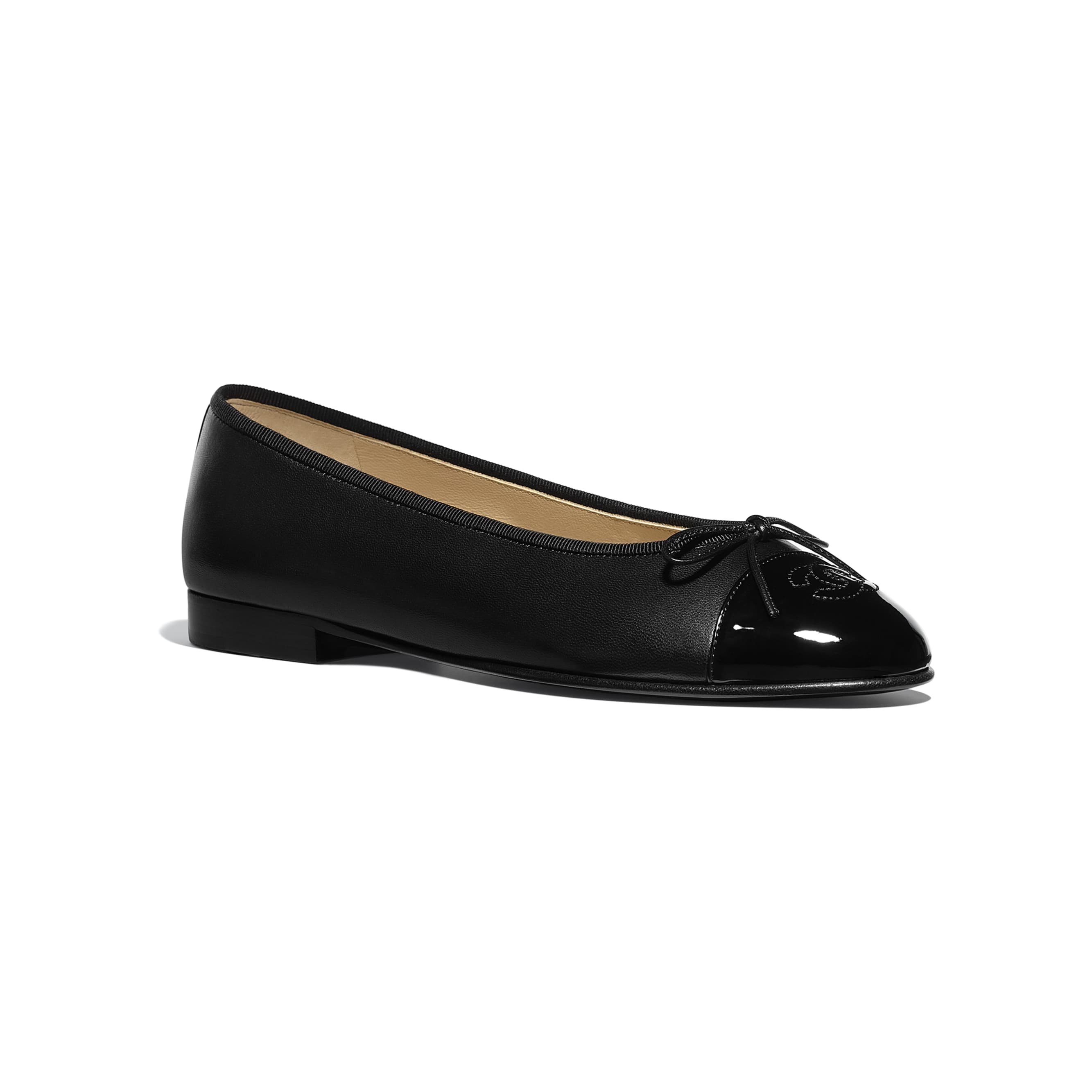 Flats - Black - Lambskin & Patent Calfskin - CHANEL - Alternative view - see standard sized version