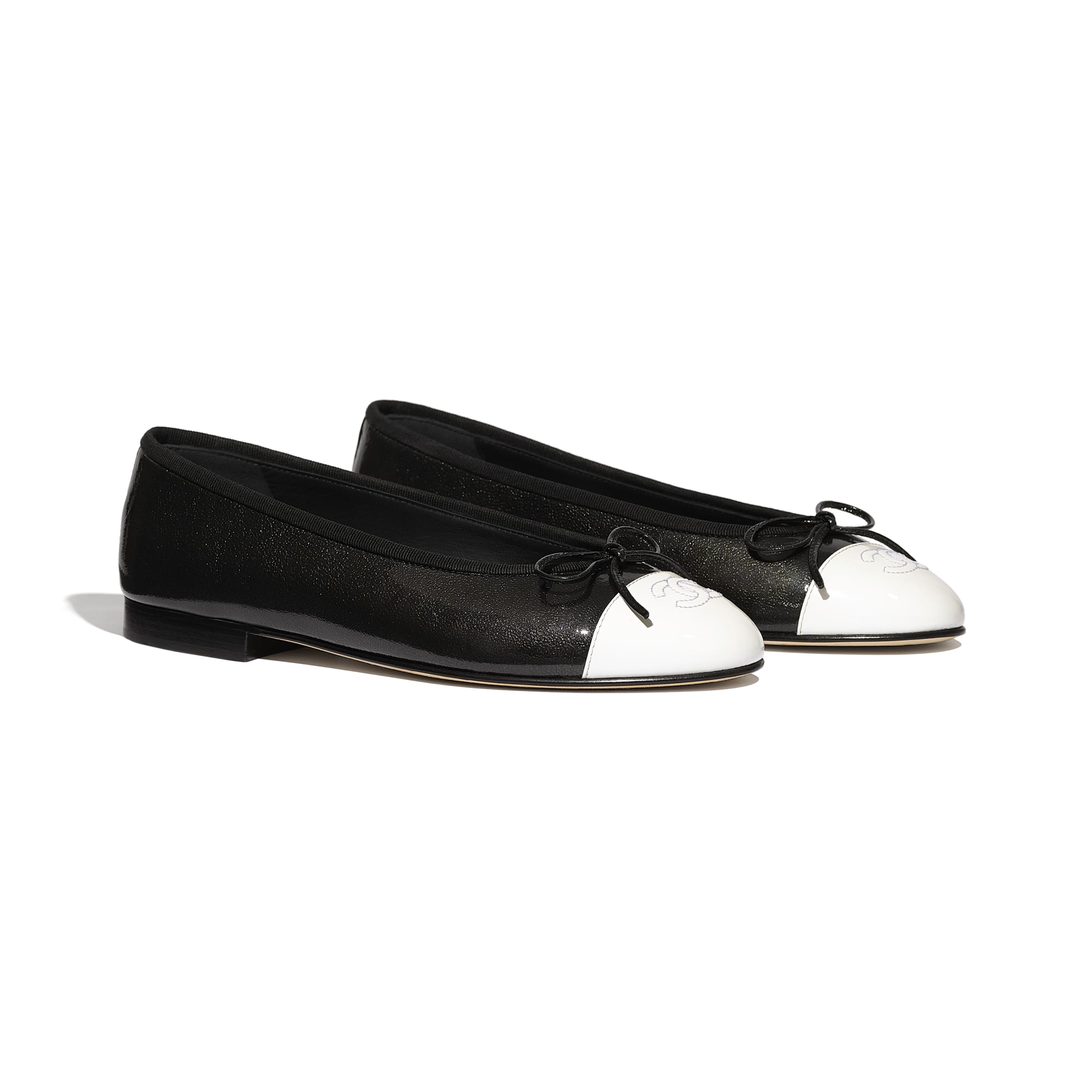 Flats - Black & White - Shiny Goatskin & Patent Calfskin - Alternative view - see standard sized version
