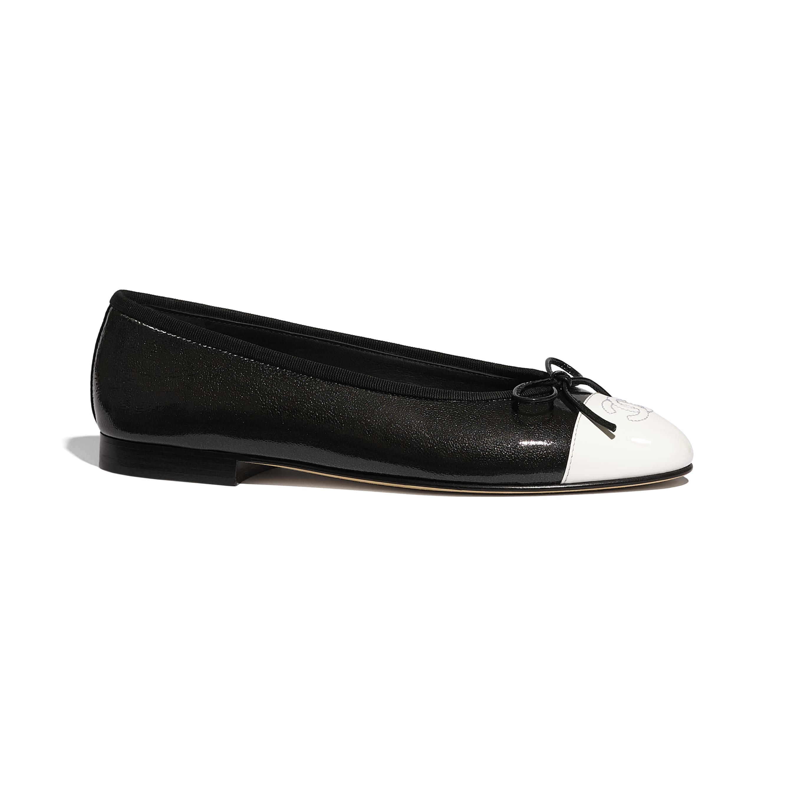 Flats - Black & White - Shiny Goatskin & Patent Calfskin - Default view - see standard sized version