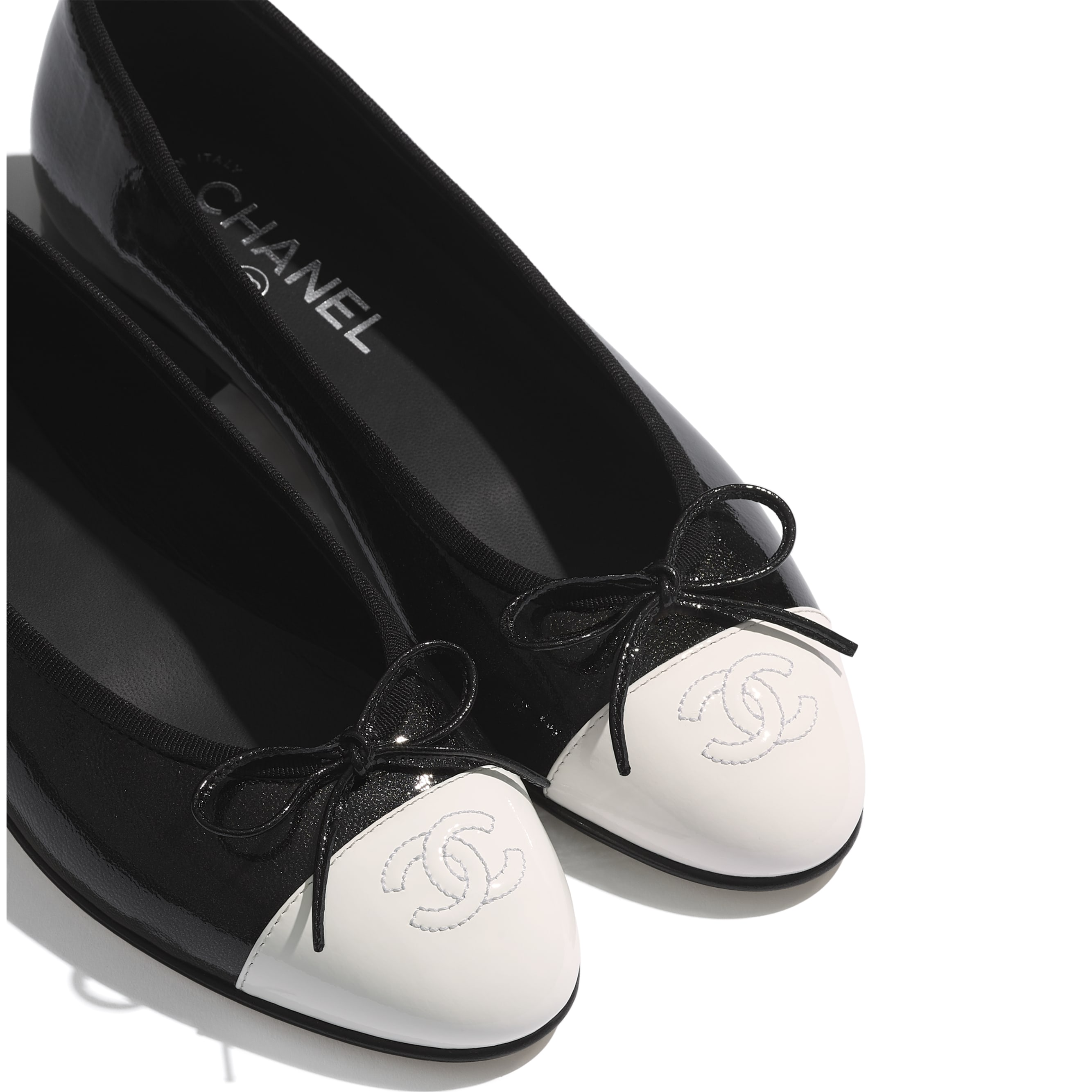 Flats - Black & White - Shiny Goatskin & Patent Calfskin - Extra view - see standard sized version
