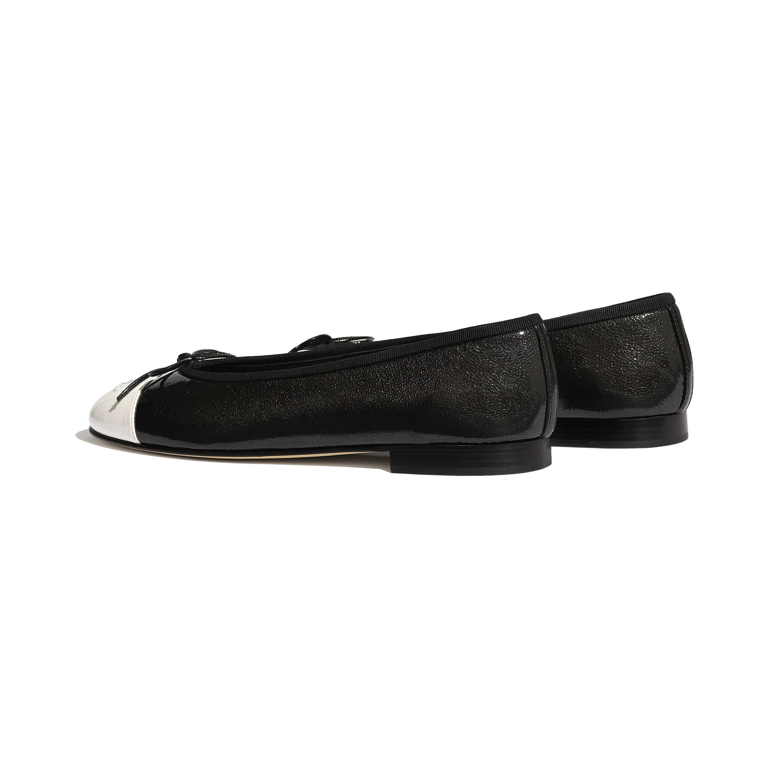 Flats - Black & White - Shiny Goatskin & Patent Calfskin - Other view - see standard sized version