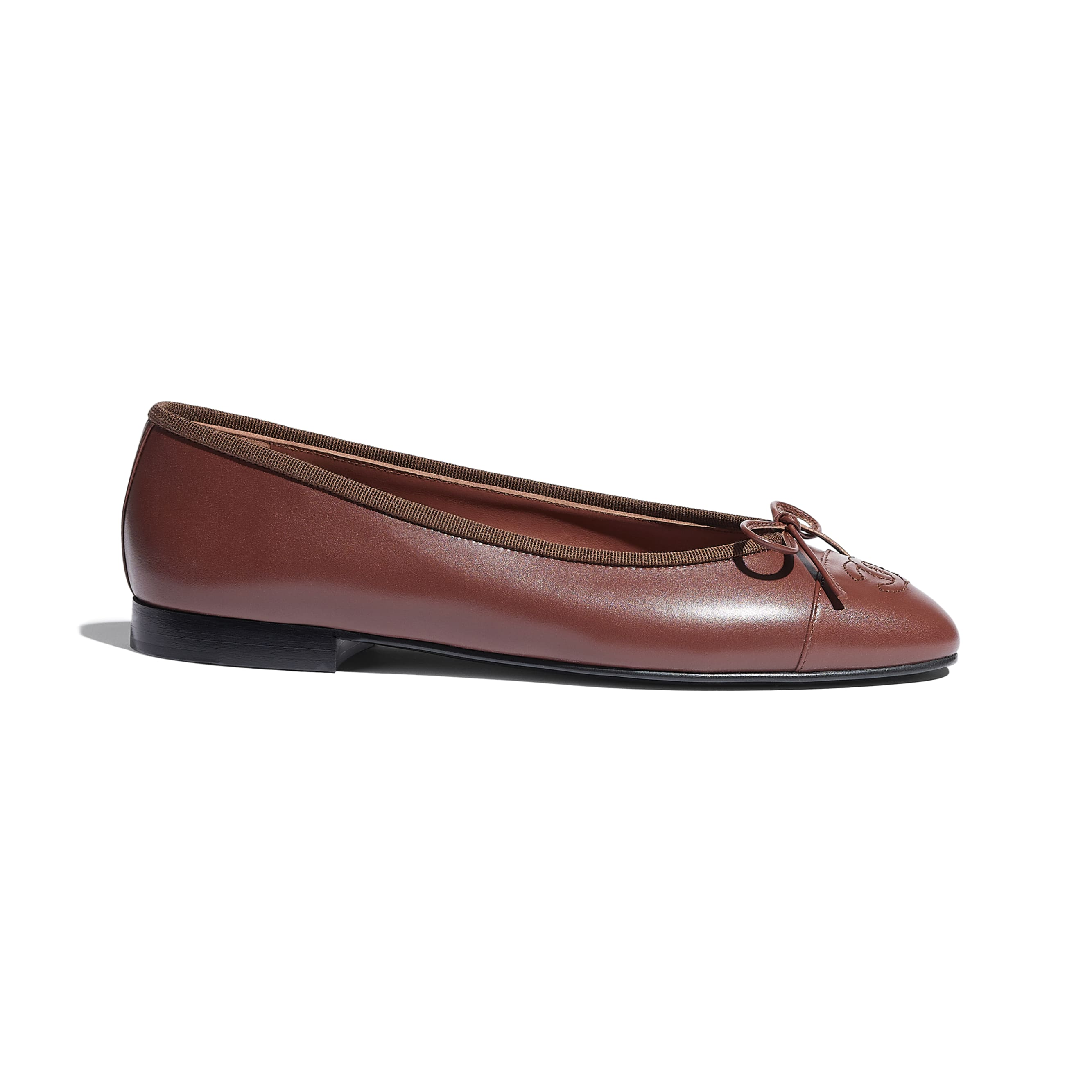 Flats - Brown - Calfskin - CHANEL - Default view - see standard sized version