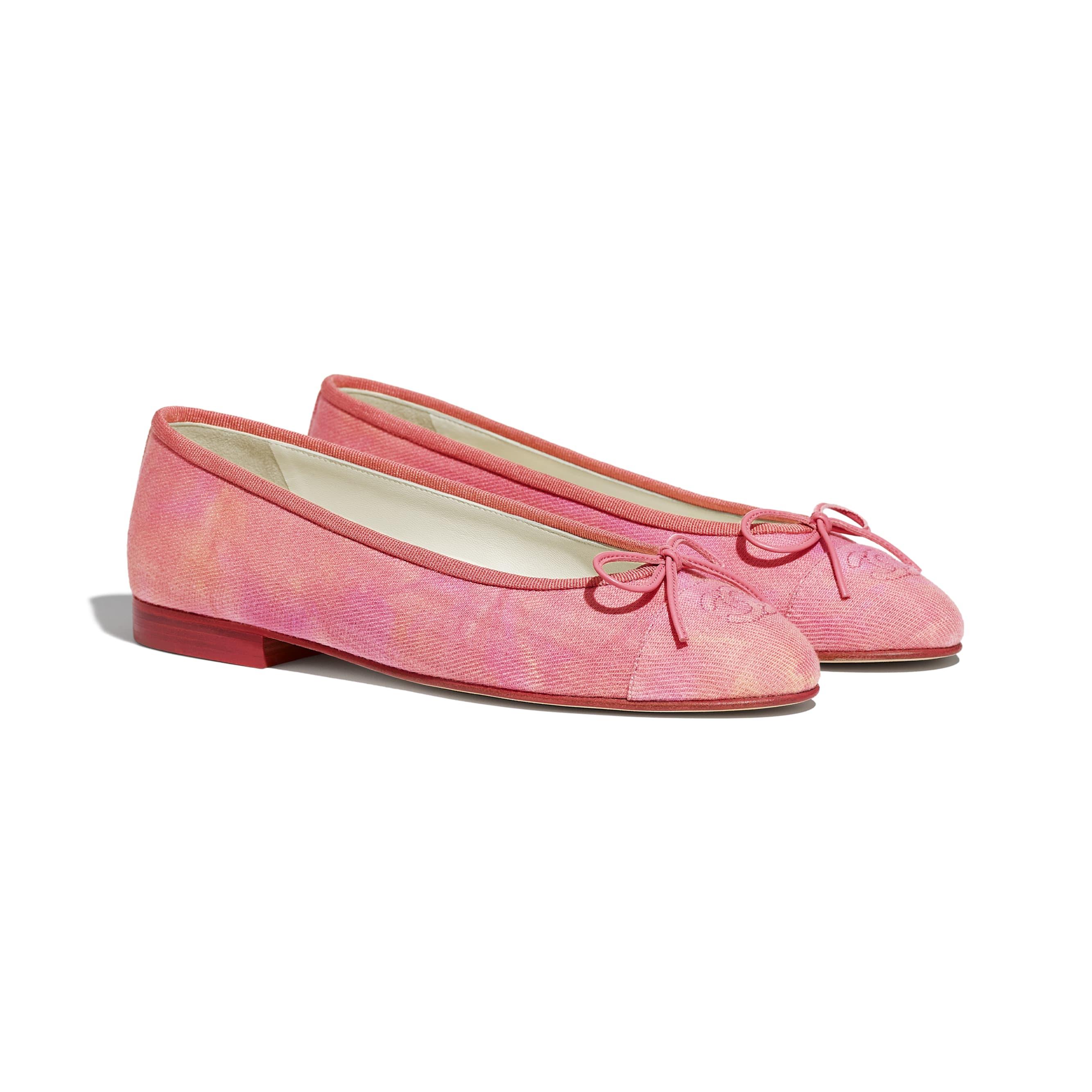Ballerine - Corallo, rosa & arancione - Tessuto - CHANEL - Immagine diversa - vedere versione standard