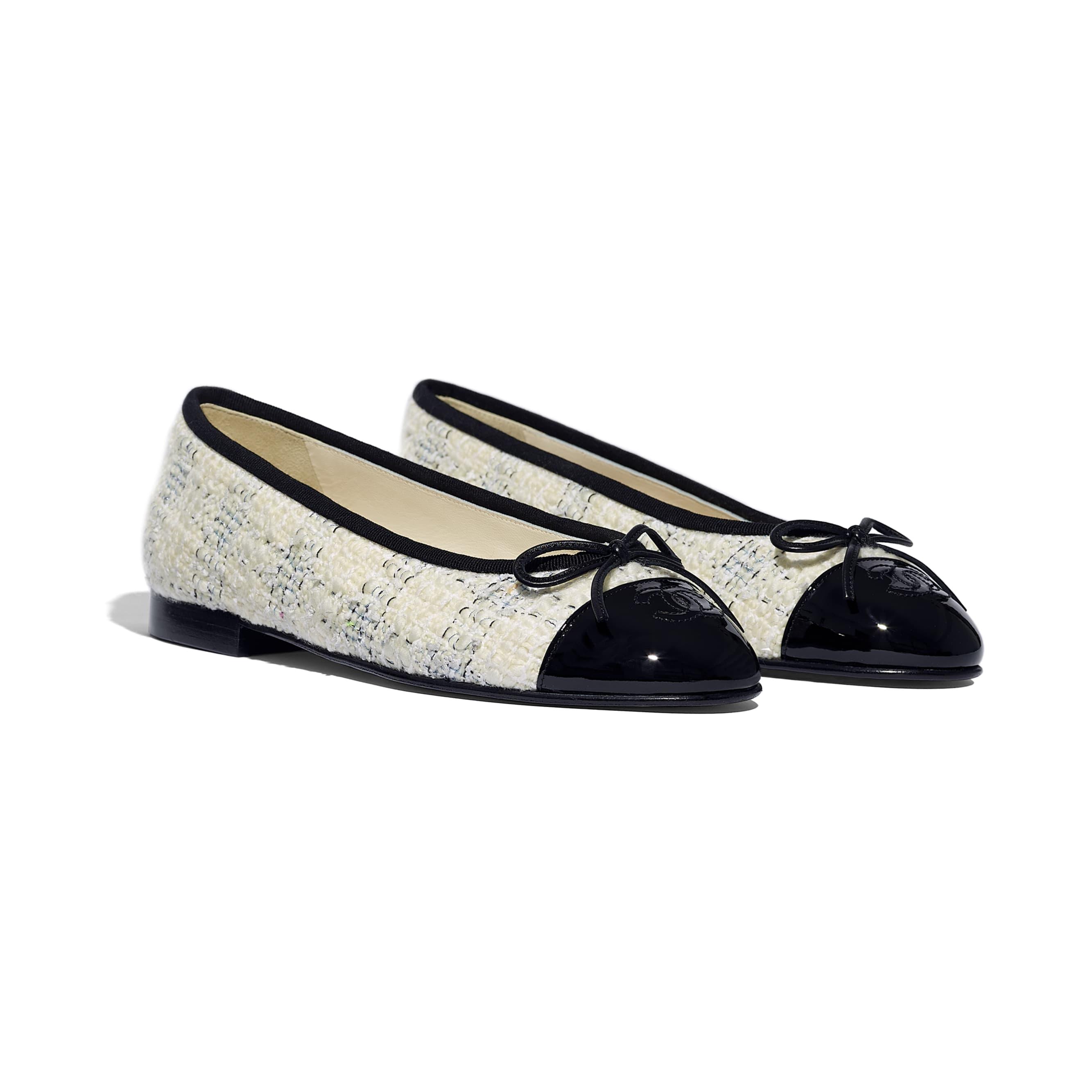 Ballerinas - Ecru, Blue & Black - Tweed & Patent Calfskin - Alternative view - see standard sized version