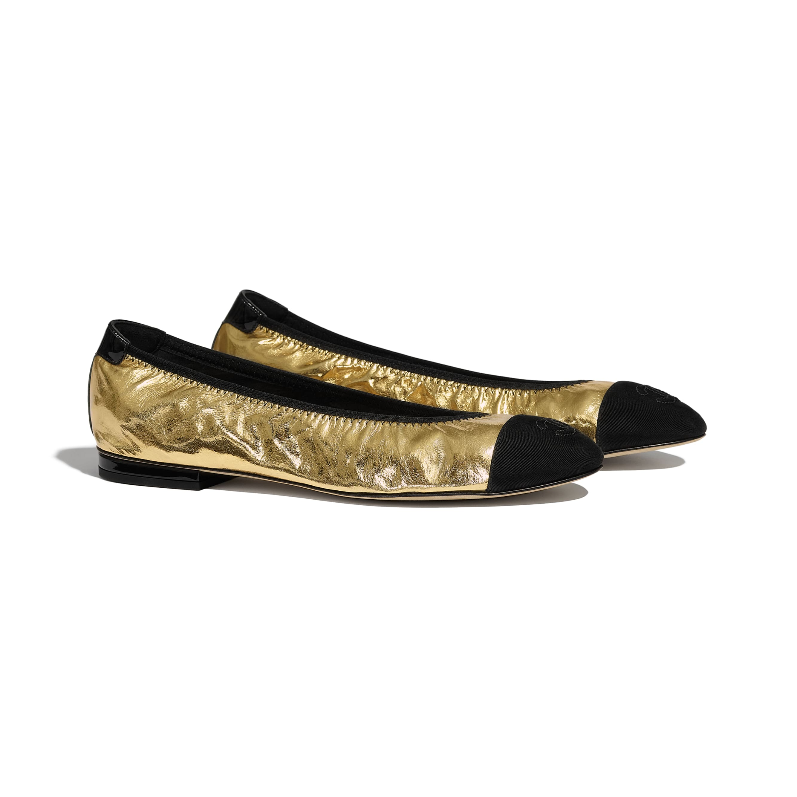 Flats - Gold & Black - Laminated Goatskin & Grosgrain - Alternative view - see standard sized version