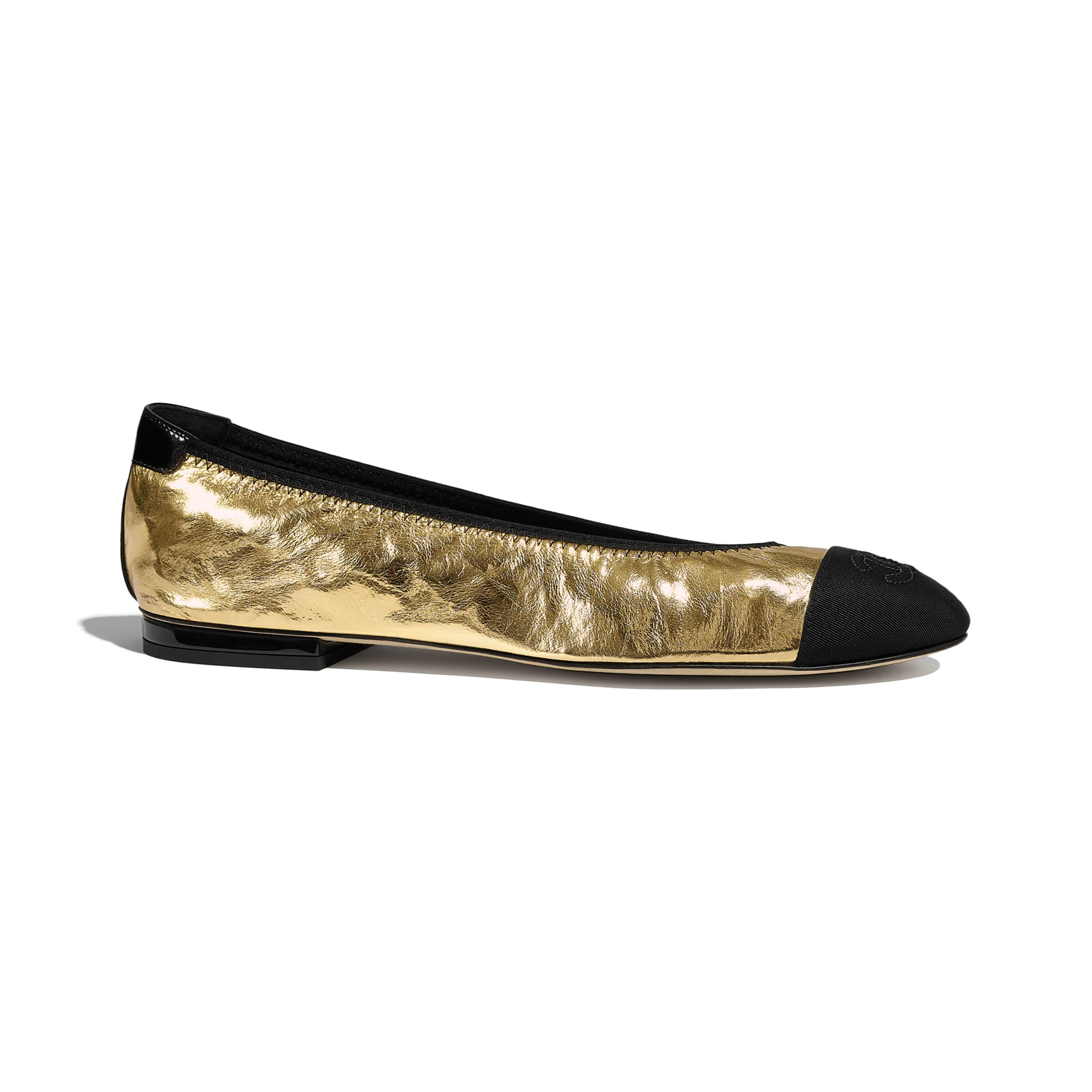 Flats - Gold & Black - Laminated Goatskin & Grosgrain - Default view - see standard sized version