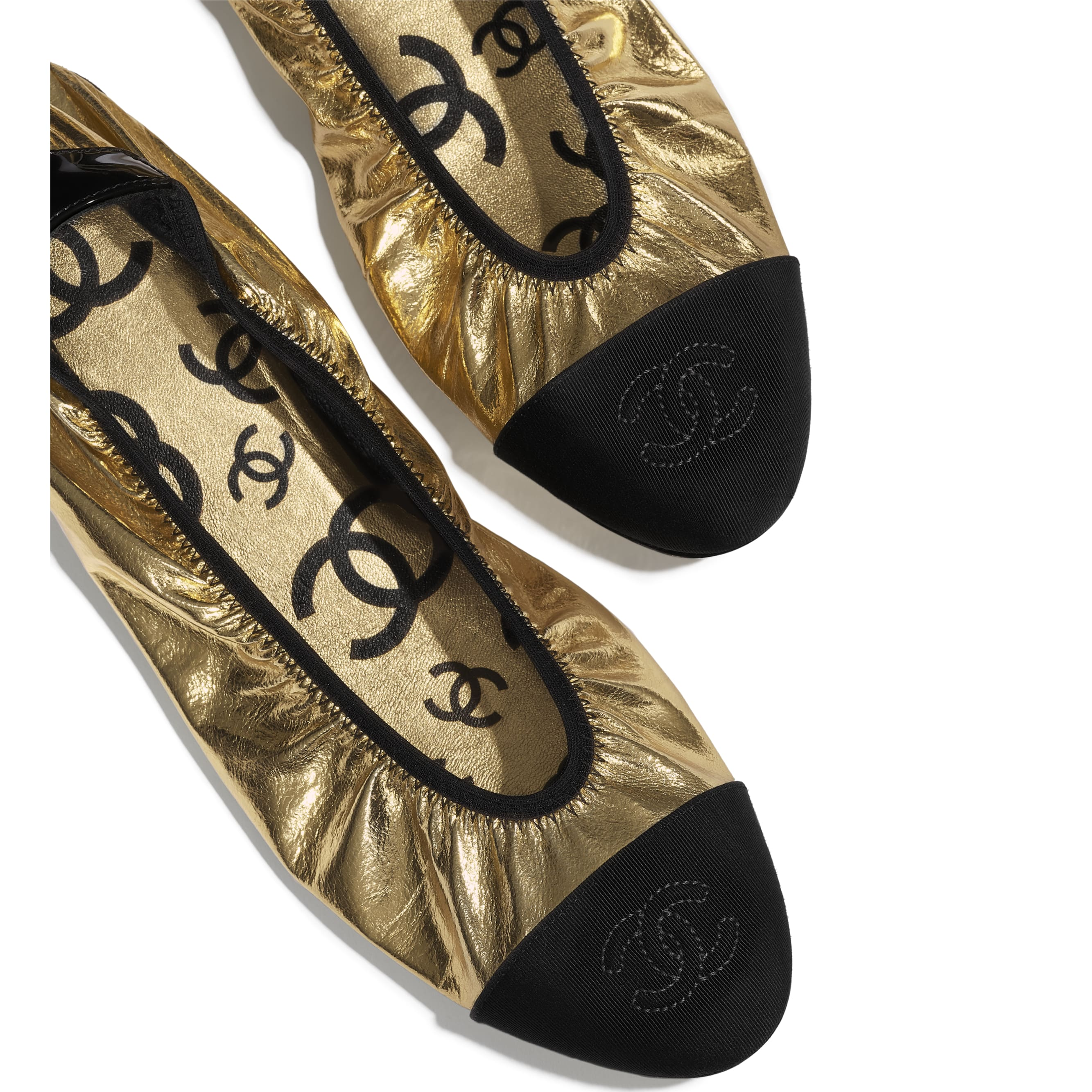 Flats - Gold & Black - Laminated Goatskin & Grosgrain - Extra view - see standard sized version