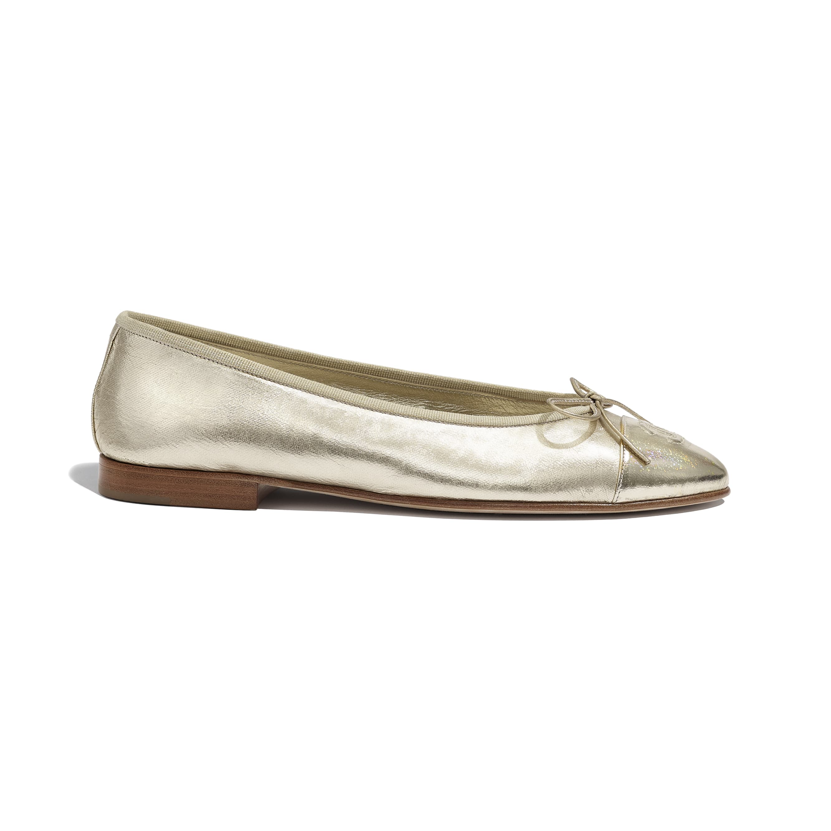 Flats - Gold - Metallic Goatskin - CHANEL - Default view - see standard sized version