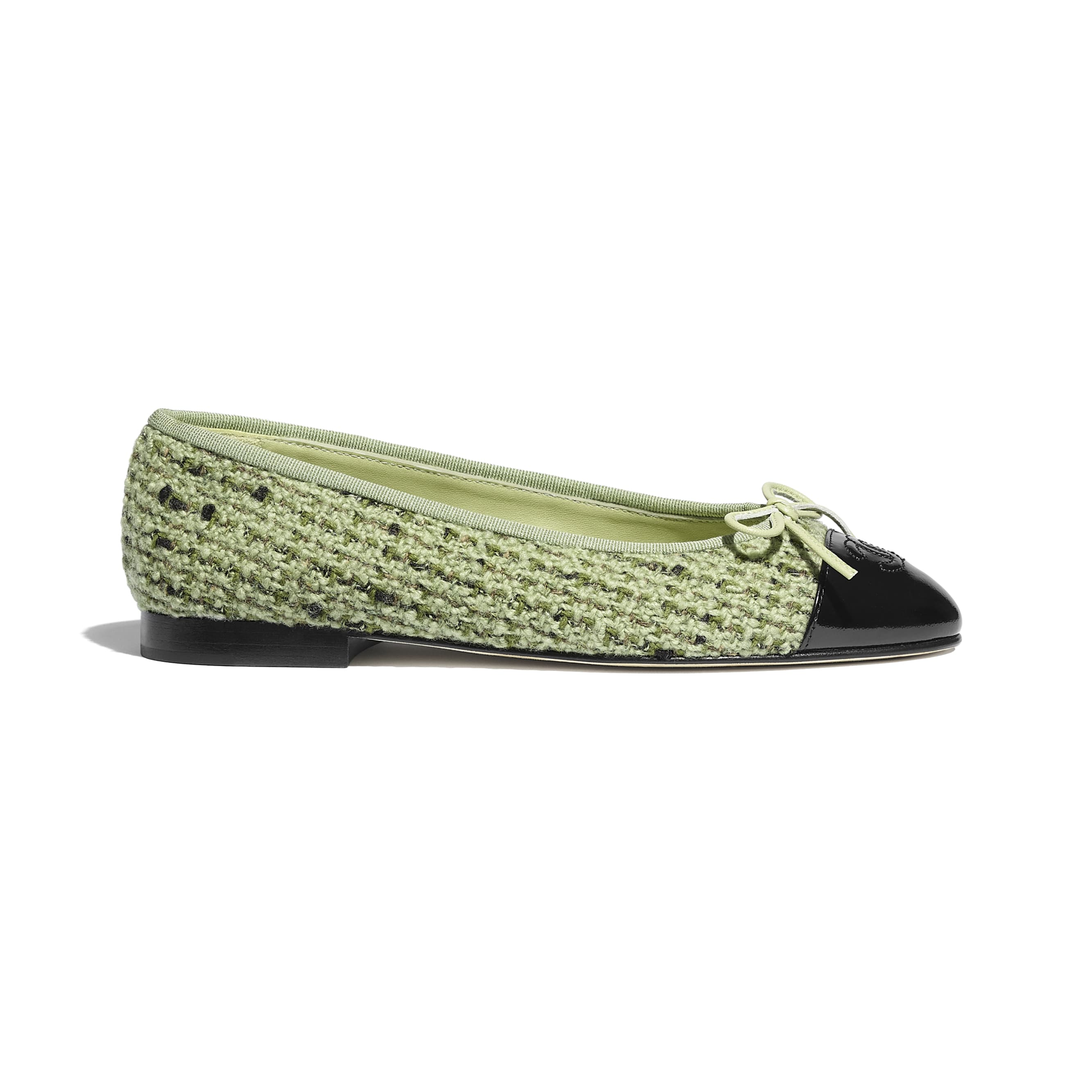 Flats - Green & Black - Tweed & Calfskin - CHANEL - Default view - see standard sized version