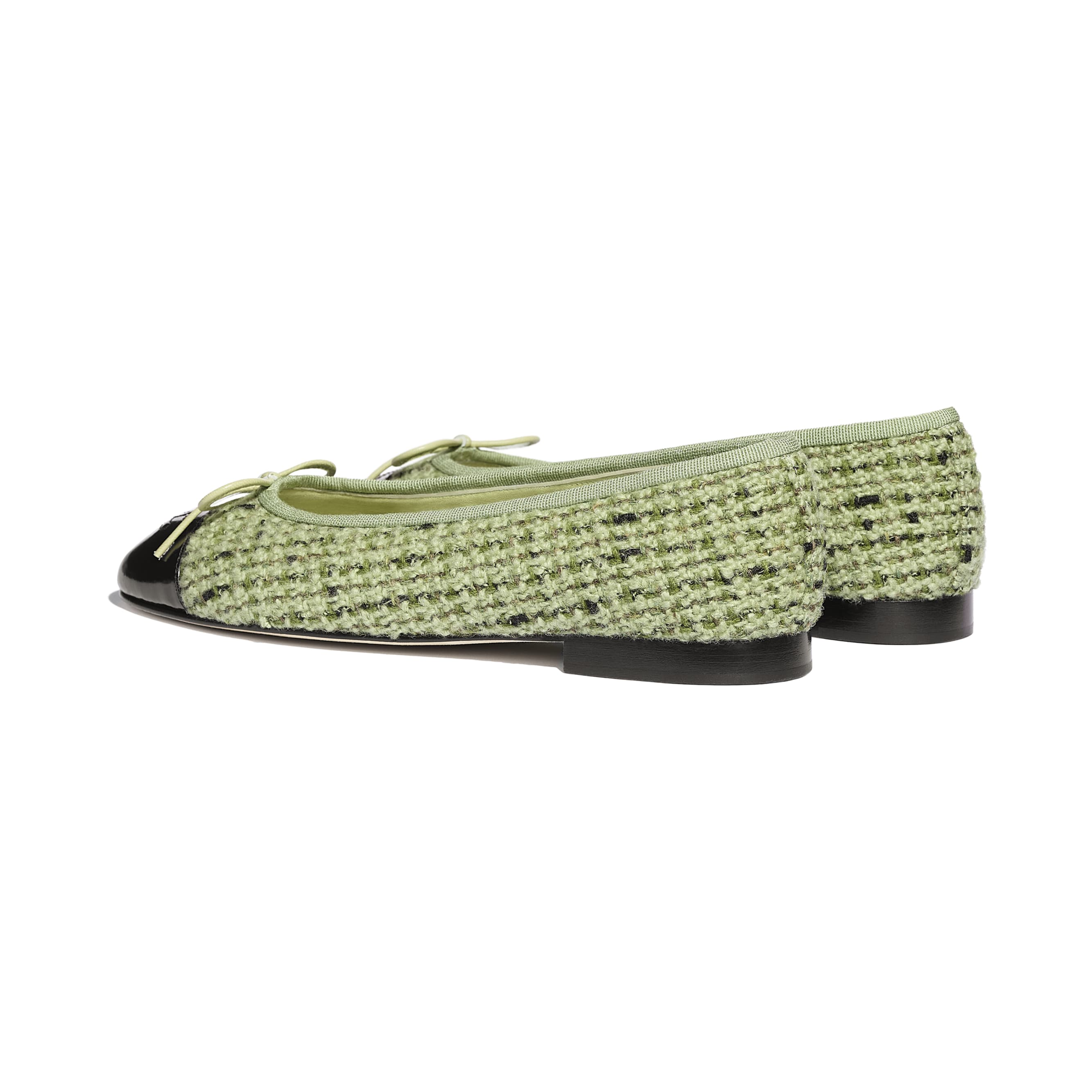 Flats - Green & Black - Tweed & Calfskin - CHANEL - Other view - see standard sized version