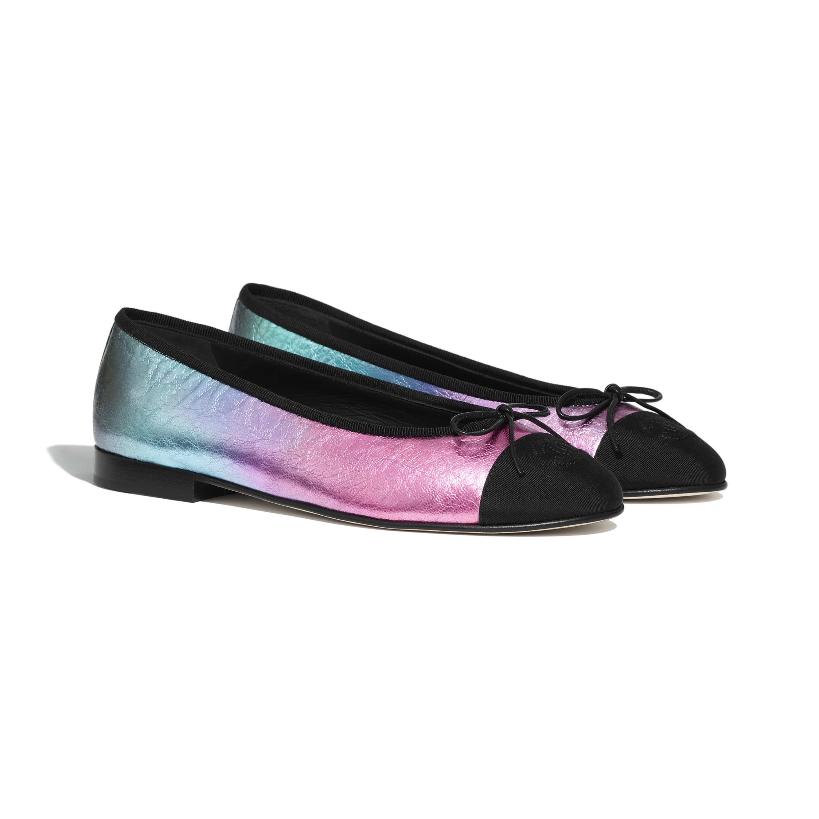 Flats - Multicolor & Black - Laminated Calfskin & Grosgrain - CHANEL - Alternative view - see standard sized version