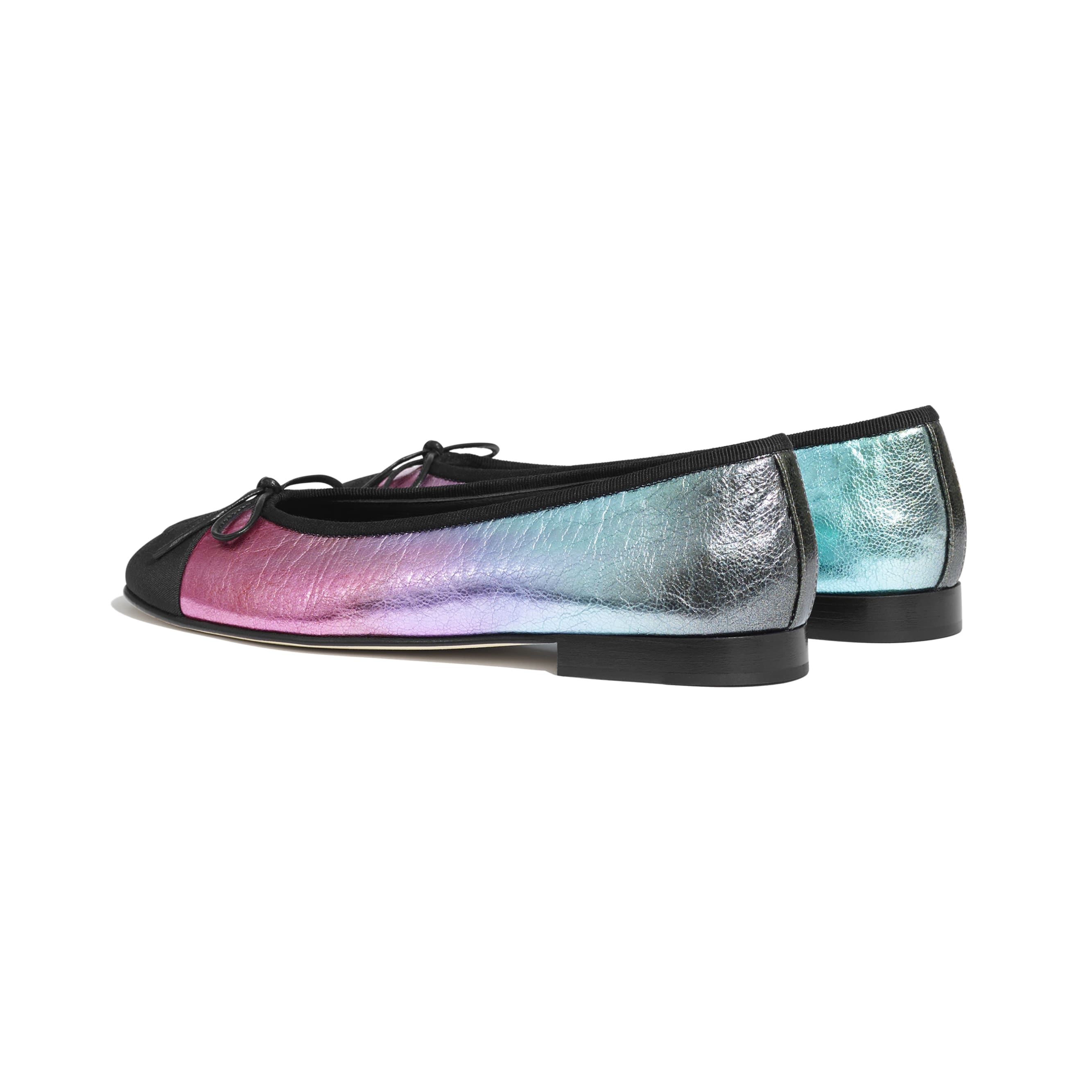 Flats - Multicolor & Black - Laminated Calfskin & Grosgrain - CHANEL - Other view - see standard sized version
