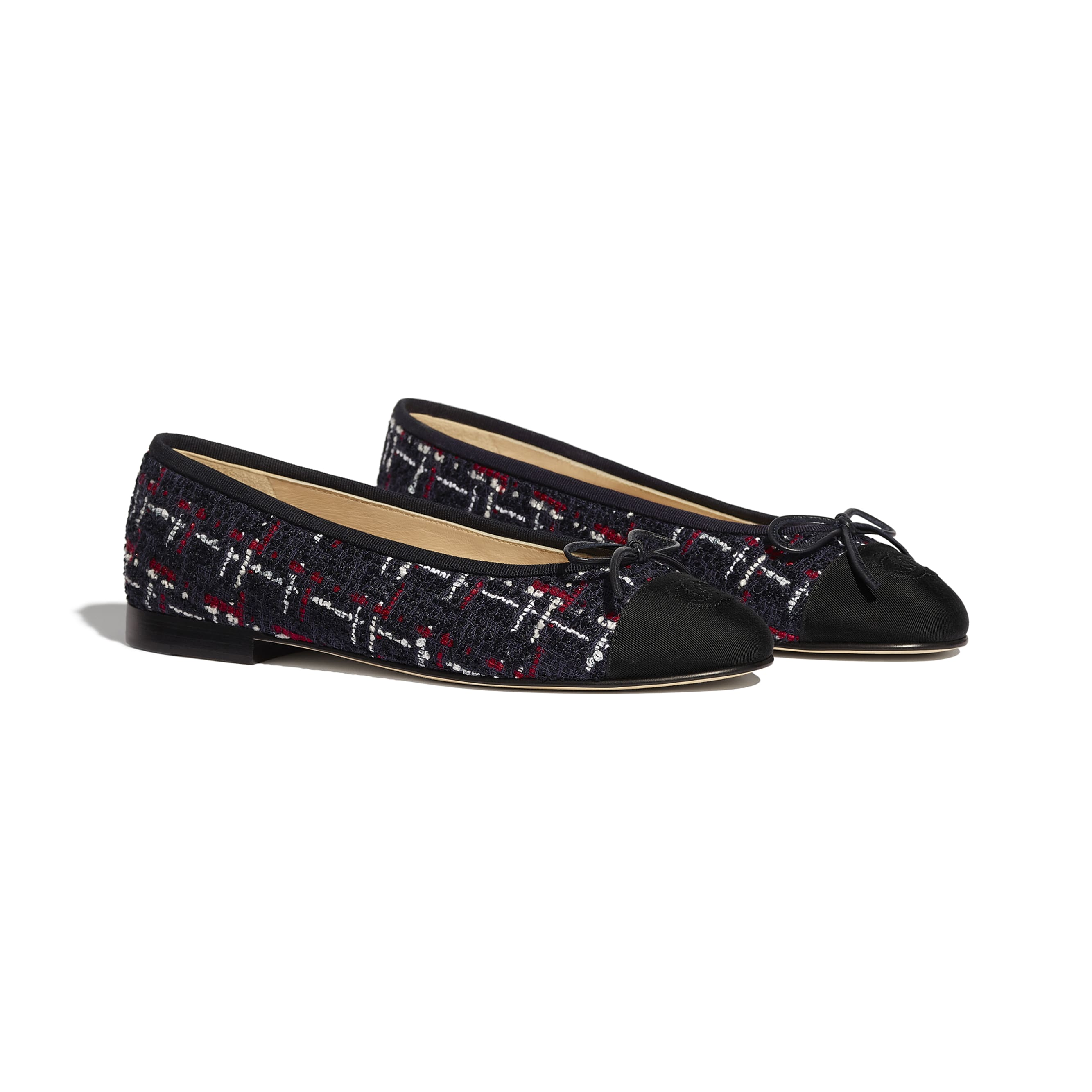 Flats - Navy Blue, Red, White & Black - Tweed & Grosgrain - Alternative view - see standard sized version