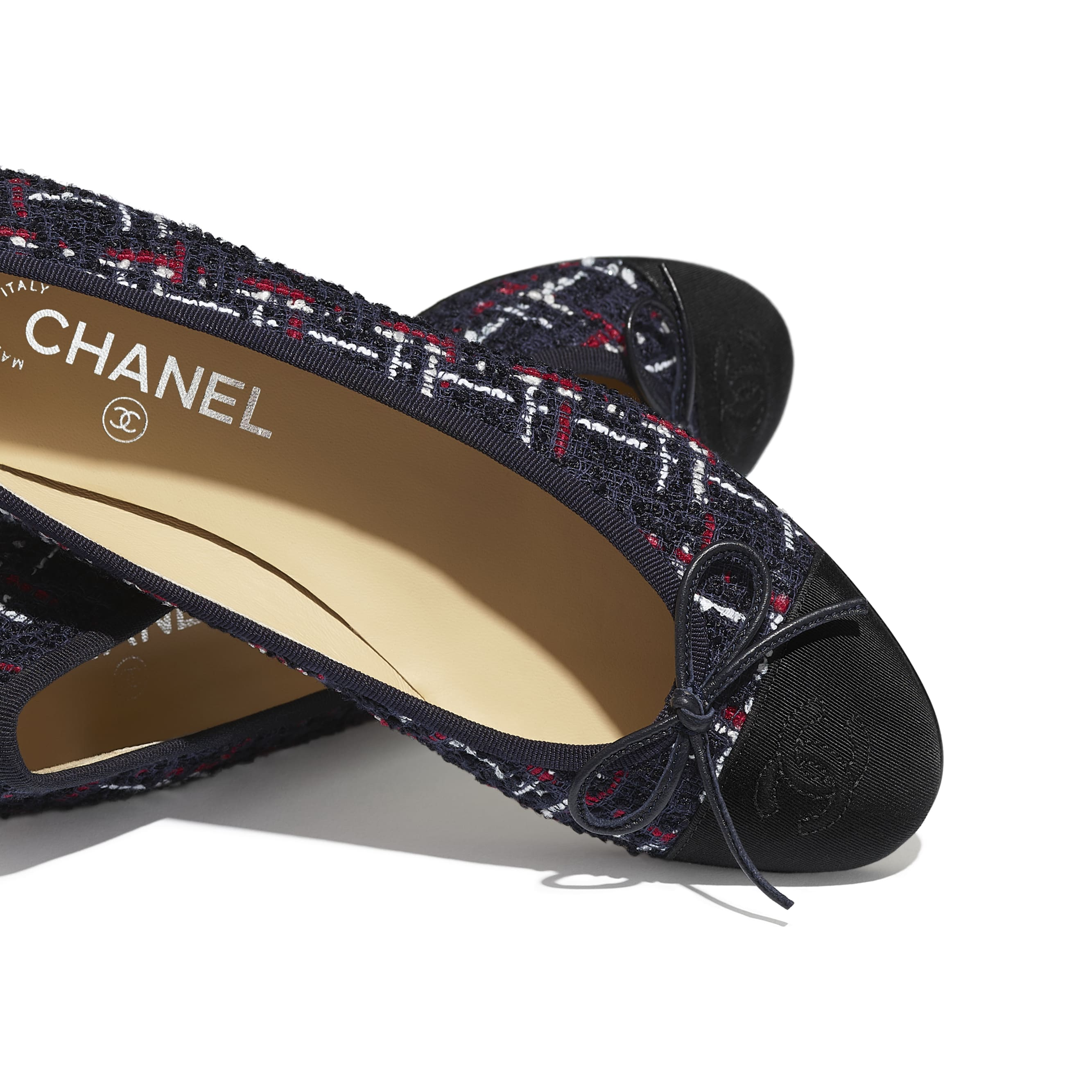 Flats - Navy Blue, Red, White & Black - Tweed & Grosgrain - Extra view - see standard sized version