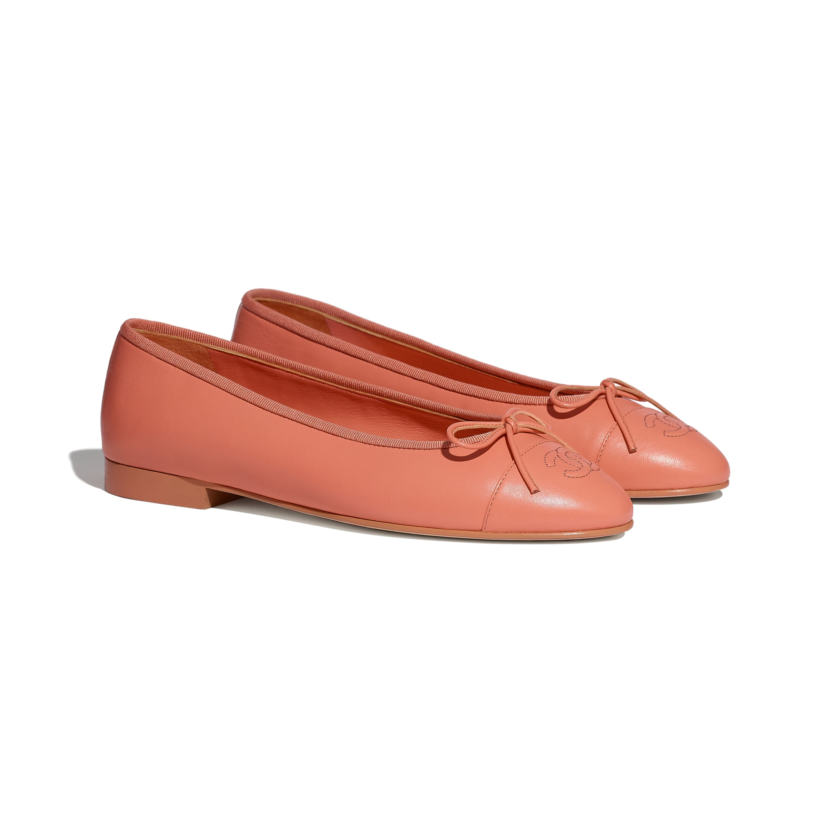 Flats - Neon Orange - Lambskin - CHANEL - Alternative view - see standard sized version