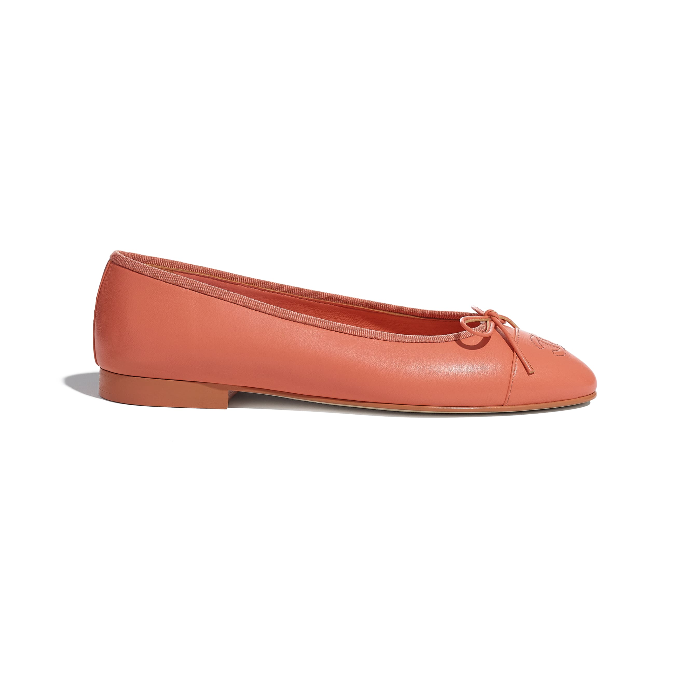 Flats - Neon Orange - Lambskin - CHANEL - Default view - see standard sized version