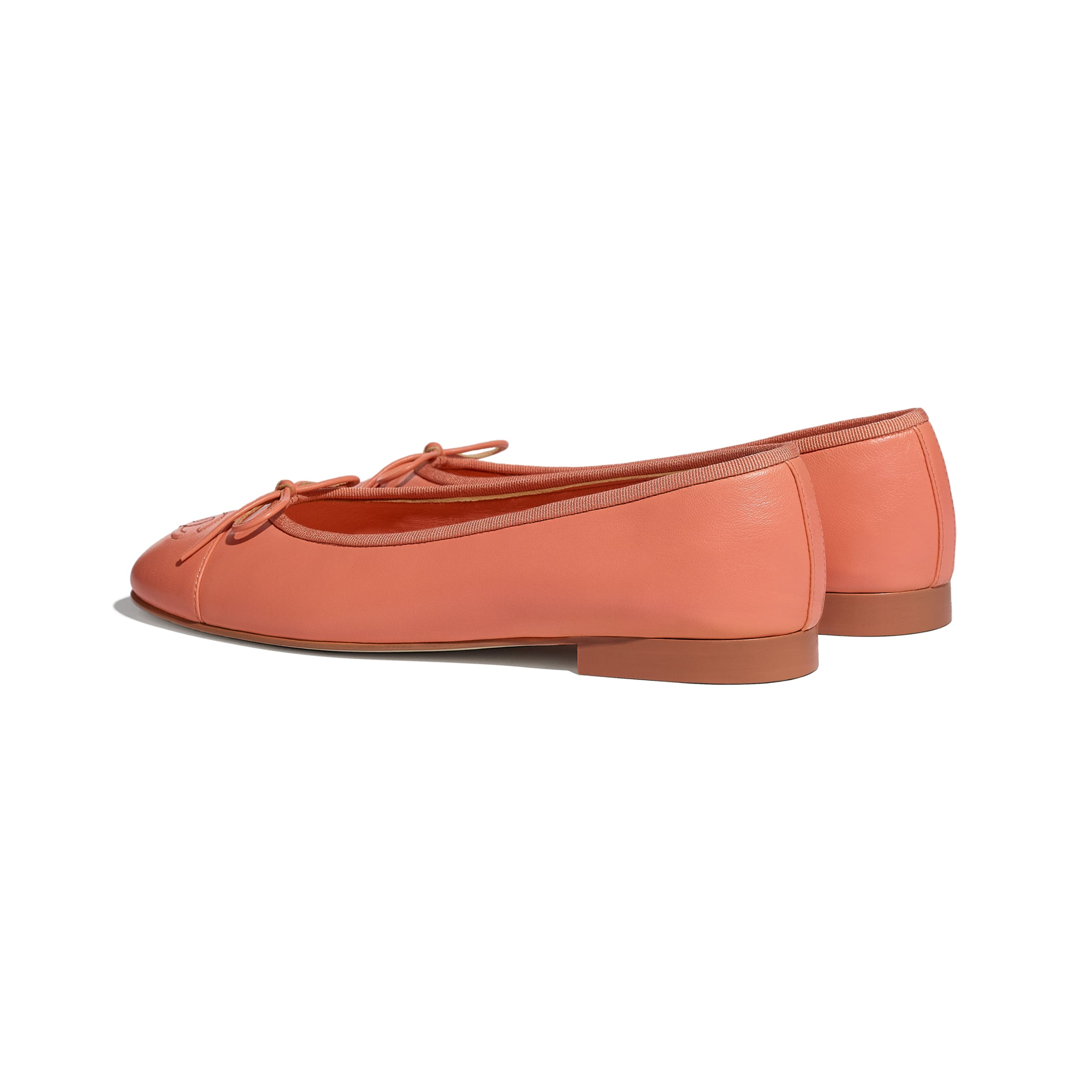 Flats - Neon Orange - Lambskin - CHANEL - Other view - see standard sized version