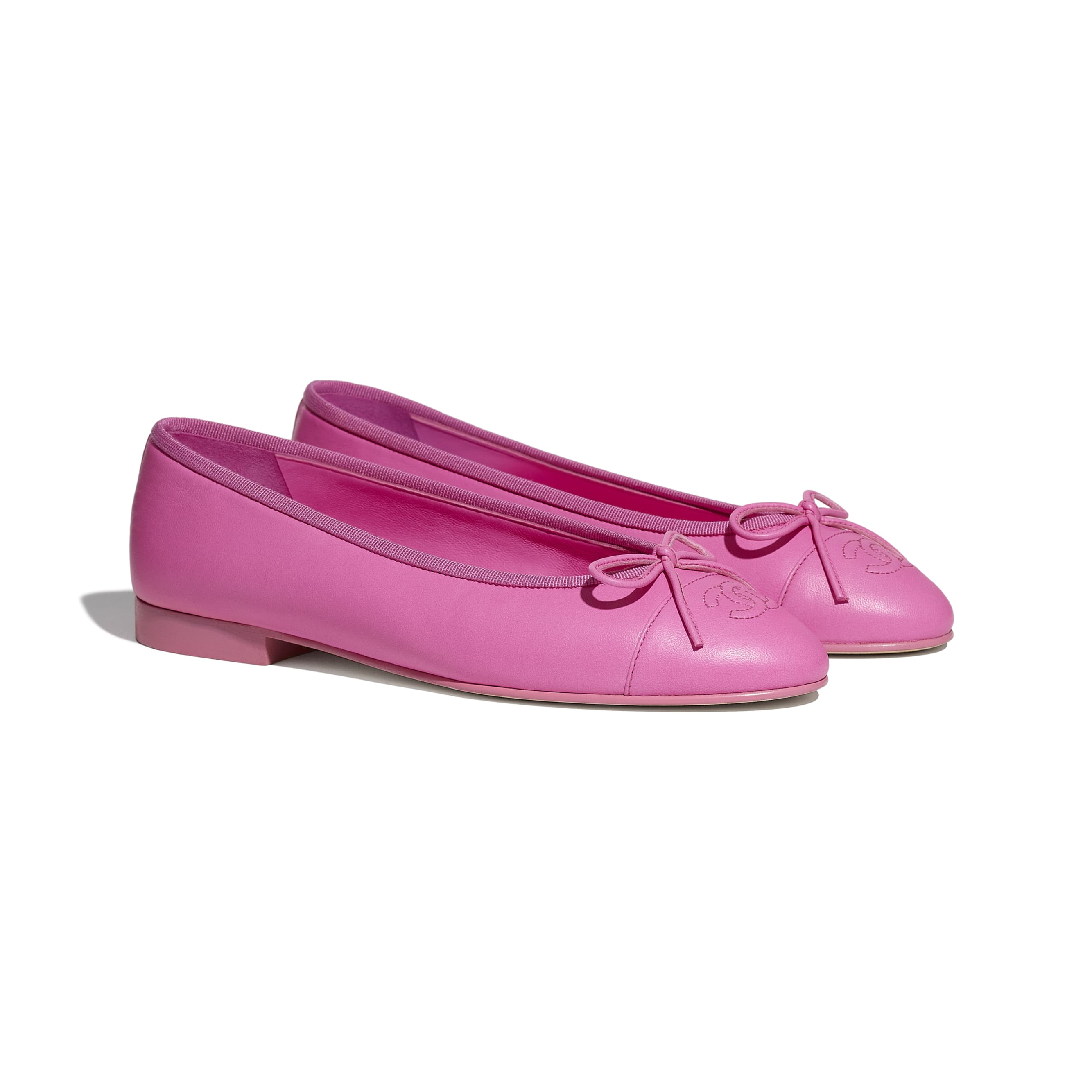 Flats - Neon Pink - Lambskin - CHANEL - Alternative view - see standard sized version