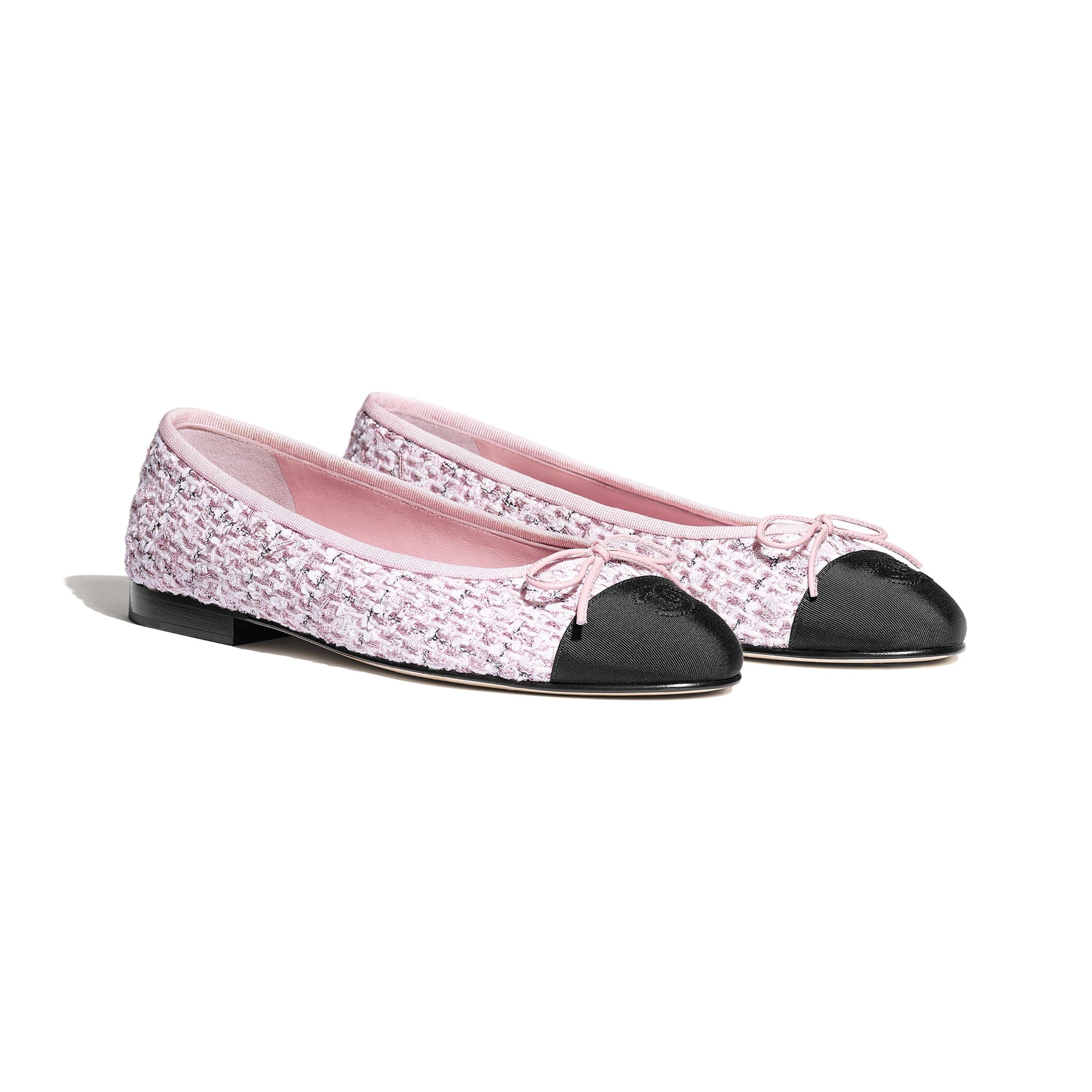 Flats - Pink & Black - Tweed & Grosgrain - CHANEL - Alternative view - see standard sized version