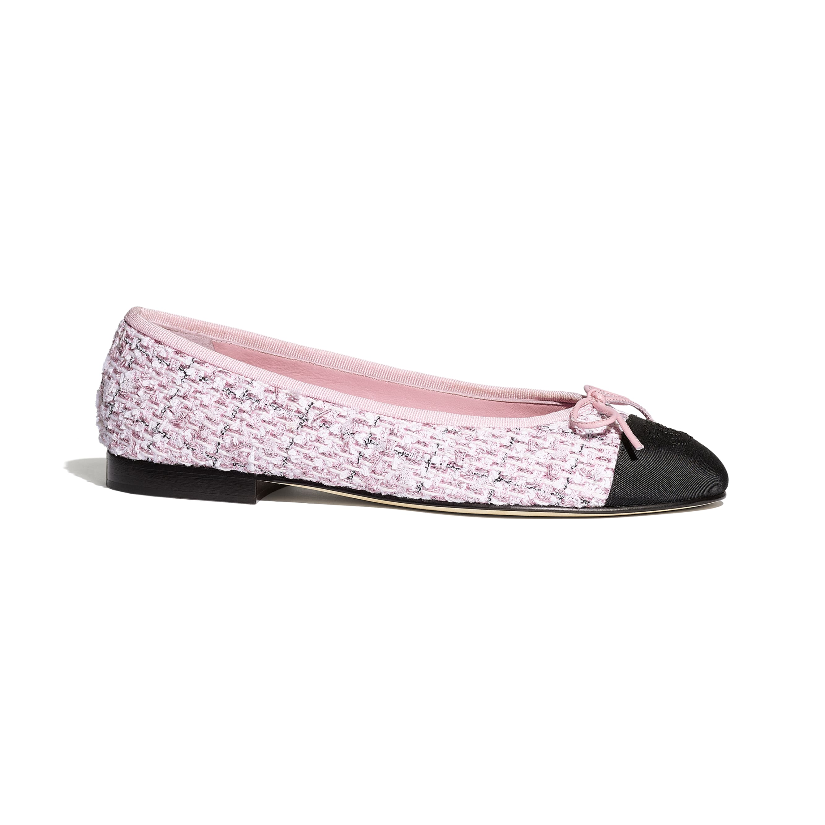Flats - Pink & Black - Tweed & Grosgrain - CHANEL - Default view - see standard sized version