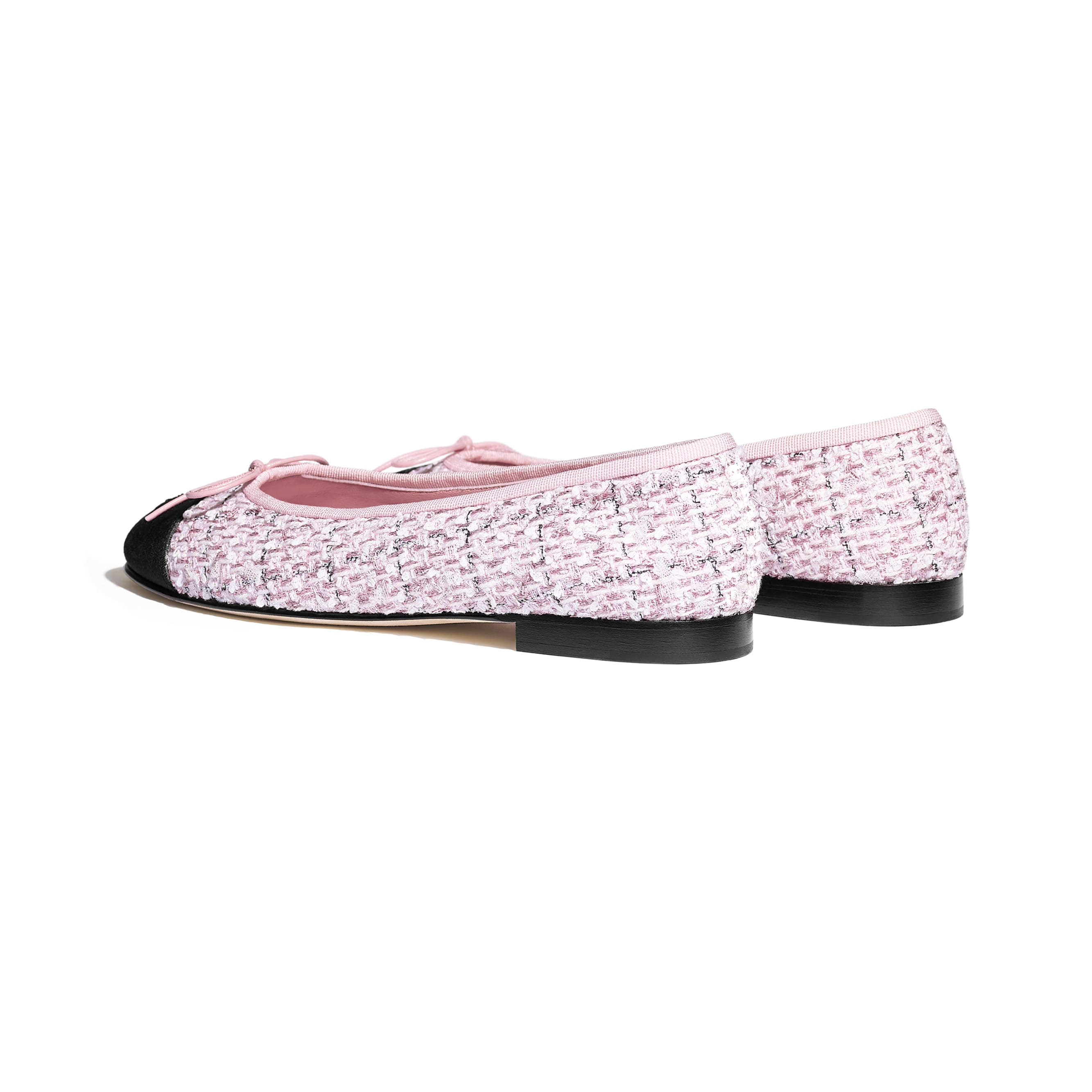 Flats - Pink & Black - Tweed & Grosgrain - CHANEL - Other view - see standard sized version