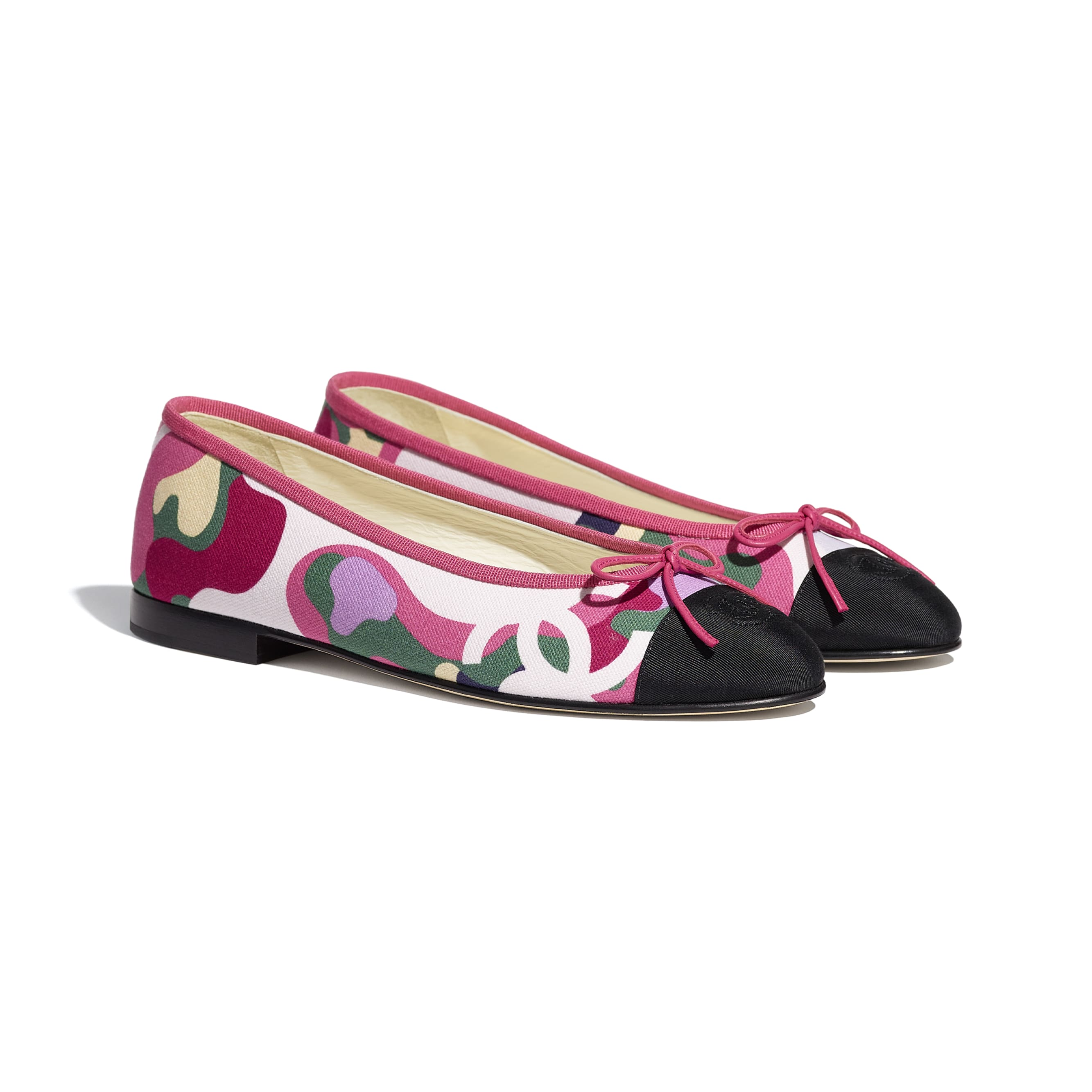 Flats - Pink, Green & Black - Cotton & Grosgrain - CHANEL - Alternative view - see standard sized version