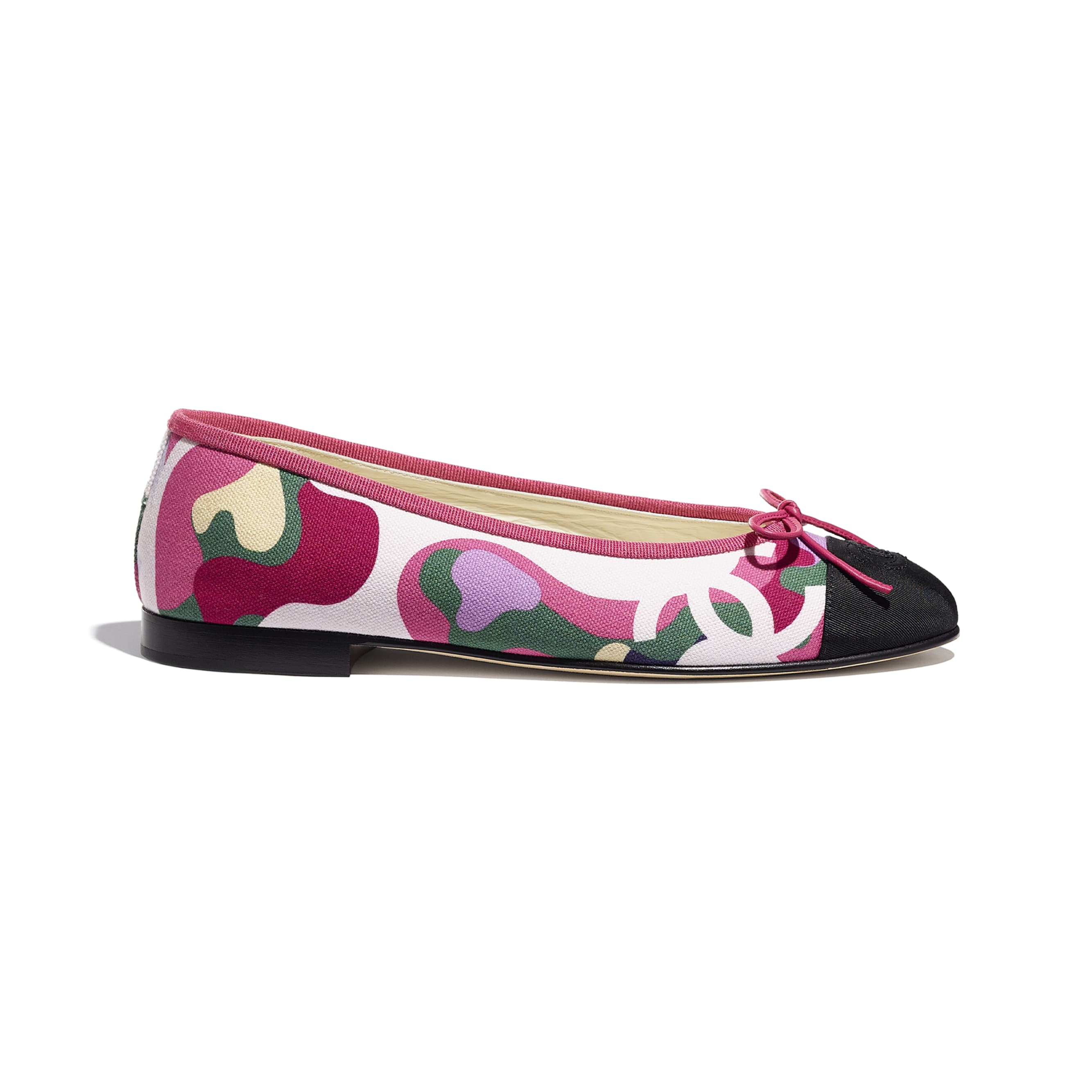 Flats - Pink, Green & Black - Cotton & Grosgrain - CHANEL - Default view - see standard sized version