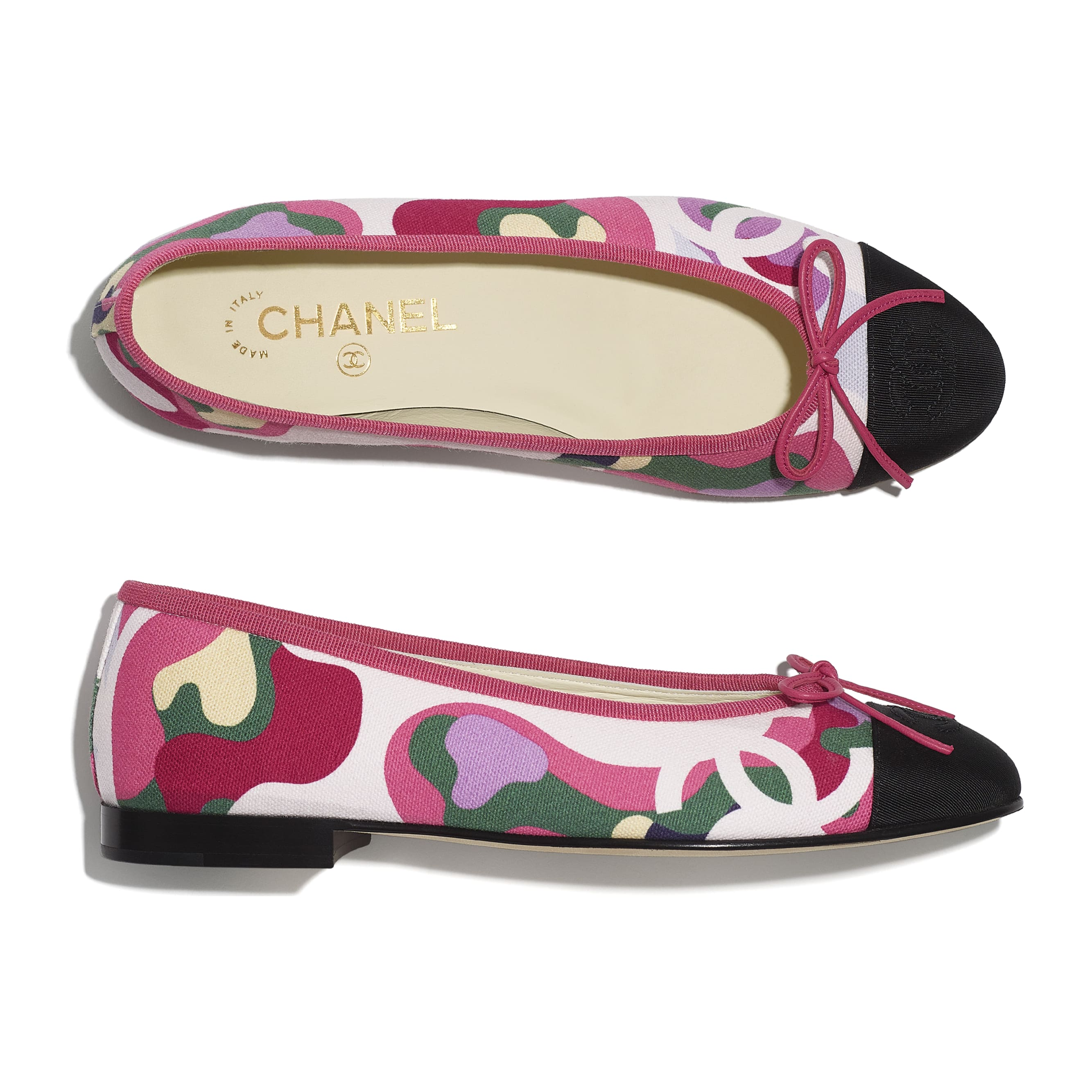 Flats - Pink, Green & Black - Cotton & Grosgrain - CHANEL - Extra view - see standard sized version