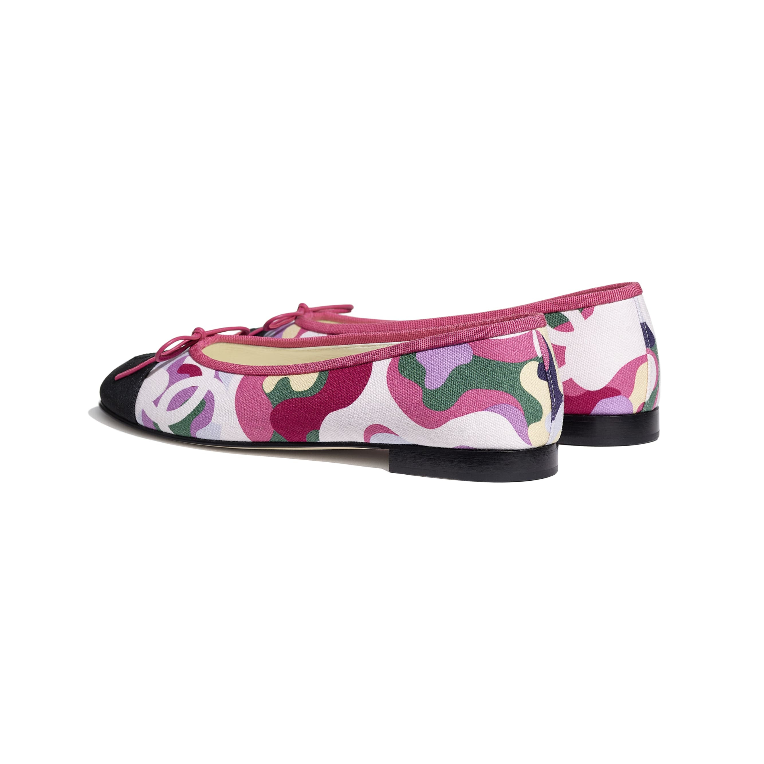 Flats - Pink, Green & Black - Cotton & Grosgrain - CHANEL - Other view - see standard sized version