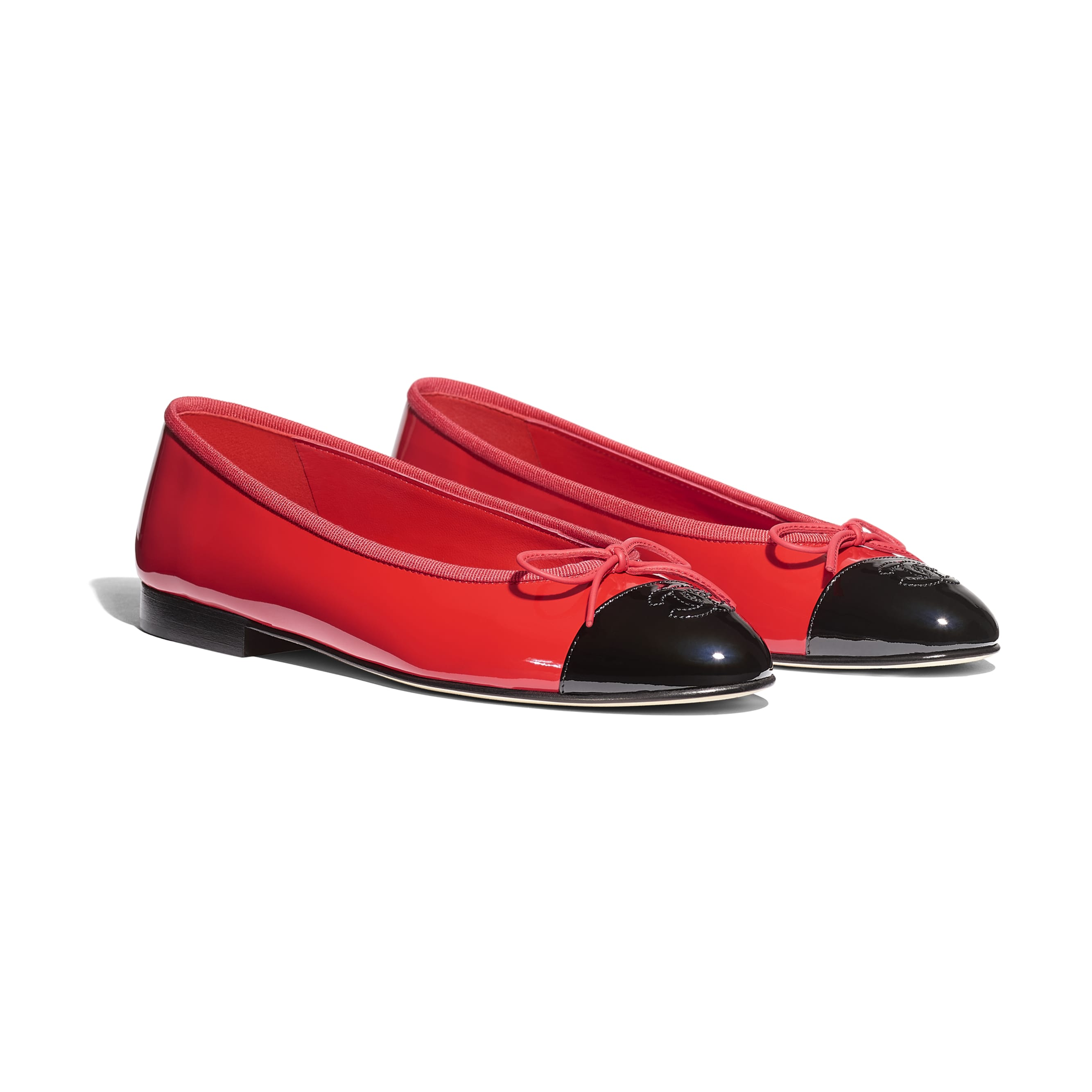 Flats - Red & Black - Patent Calfskin - Alternative view - see standard sized version
