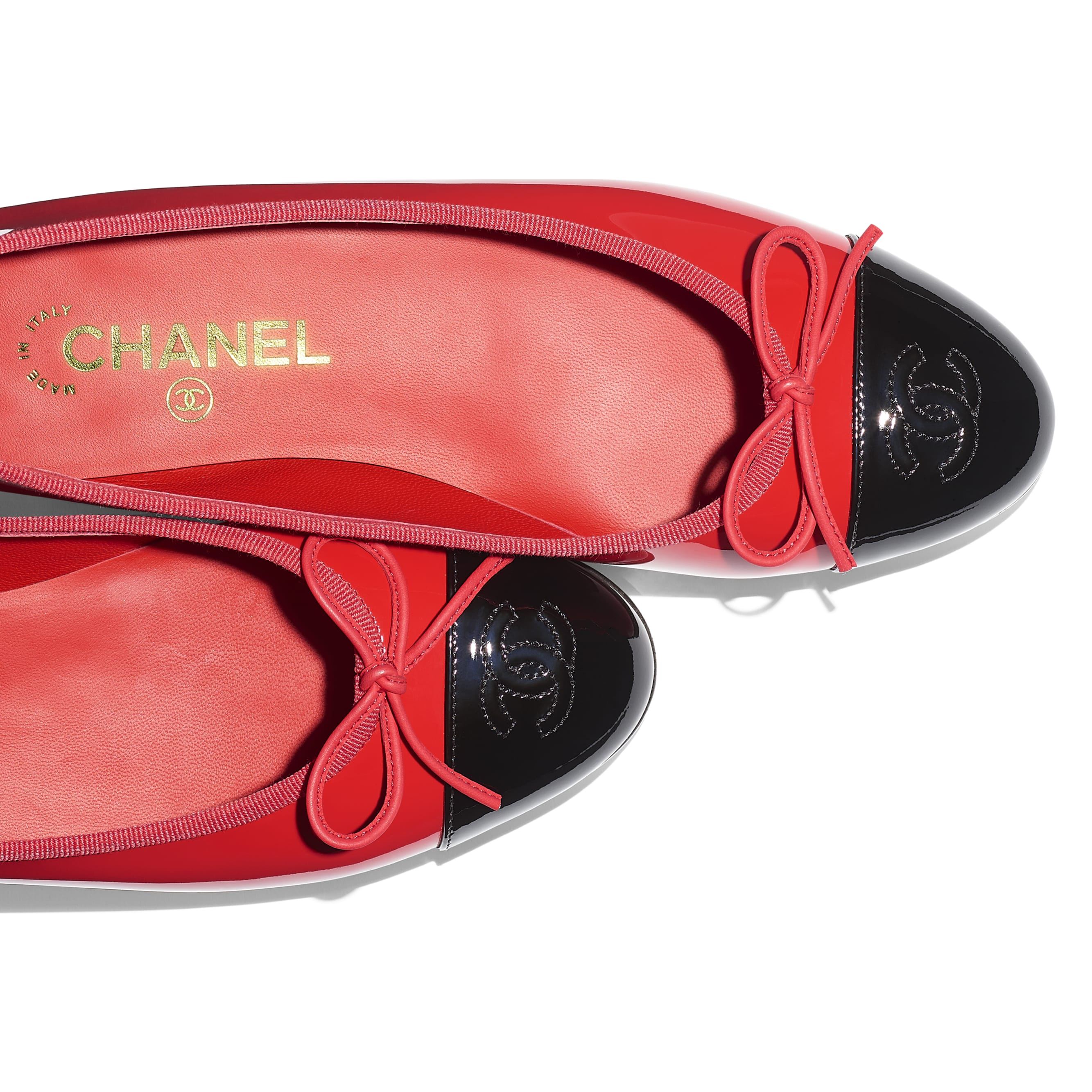 Flats - Red & Black - Patent Calfskin - Extra view - see standard sized version