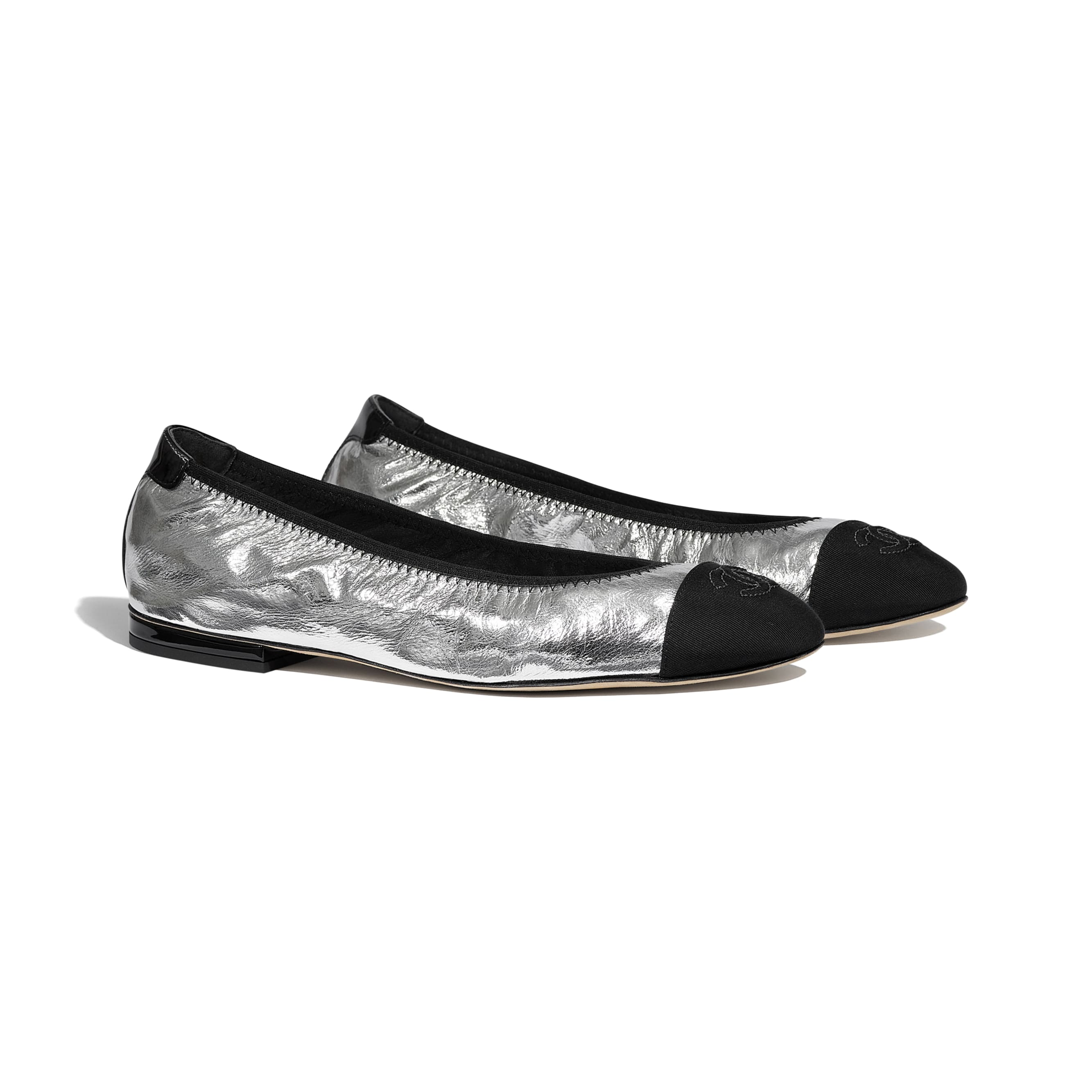 Flats - Silver & Black - Laminated Goatskin & Grosgrain - CHANEL - Alternative view - see standard sized version