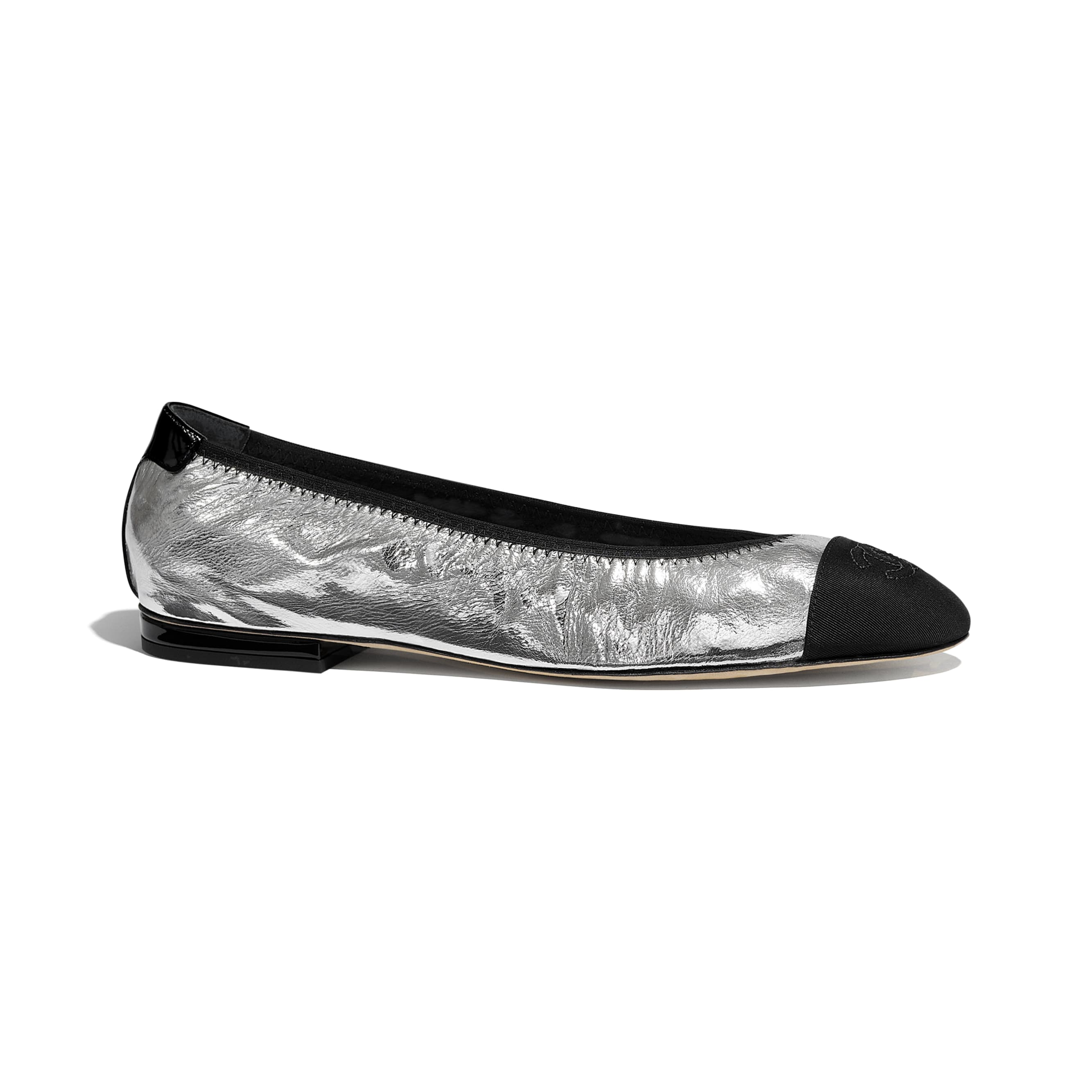 Flats - Silver & Black - Laminated Goatskin & Grosgrain - CHANEL - Default view - see standard sized version