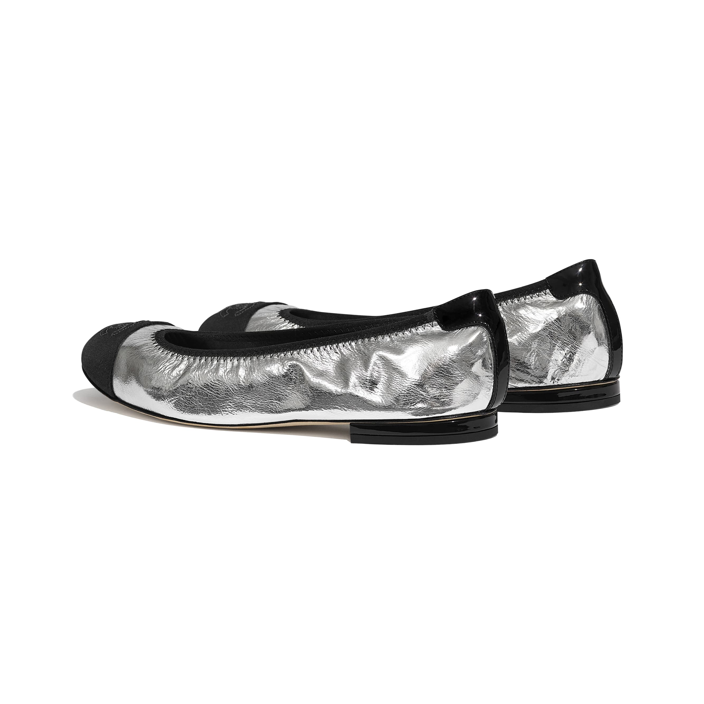 Flats - Silver & Black - Laminated Goatskin & Grosgrain - CHANEL - Other view - see standard sized version