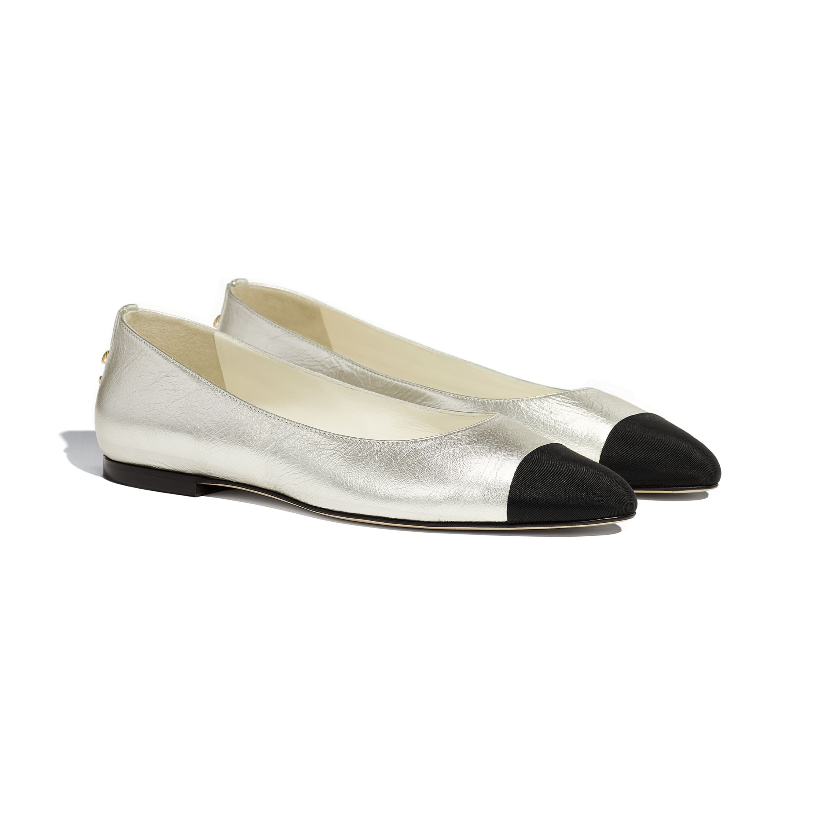 Flats - Silver & Black - Laminated Lambskin & Grosgrain - CHANEL - Alternative view - see standard sized version